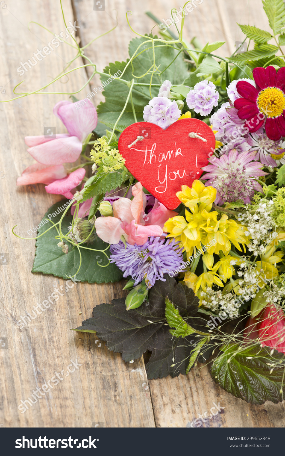 Bouquet Flowers Heart Shaped Tag Saying Stock Photo Royalty Free