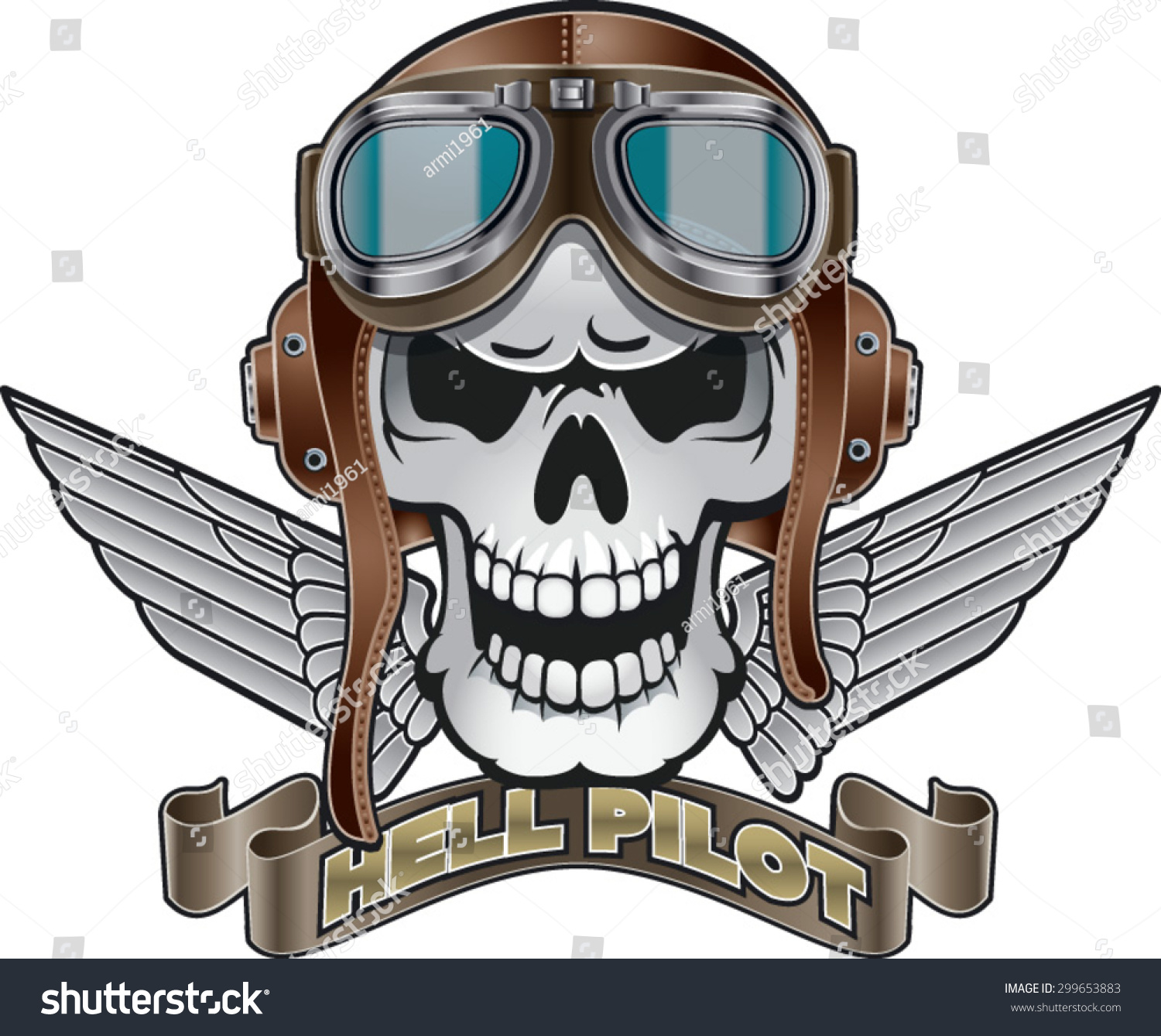 skull pilot helmet wings banner text stock vector 299653883 shutterstock. Black Bedroom Furniture Sets. Home Design Ideas