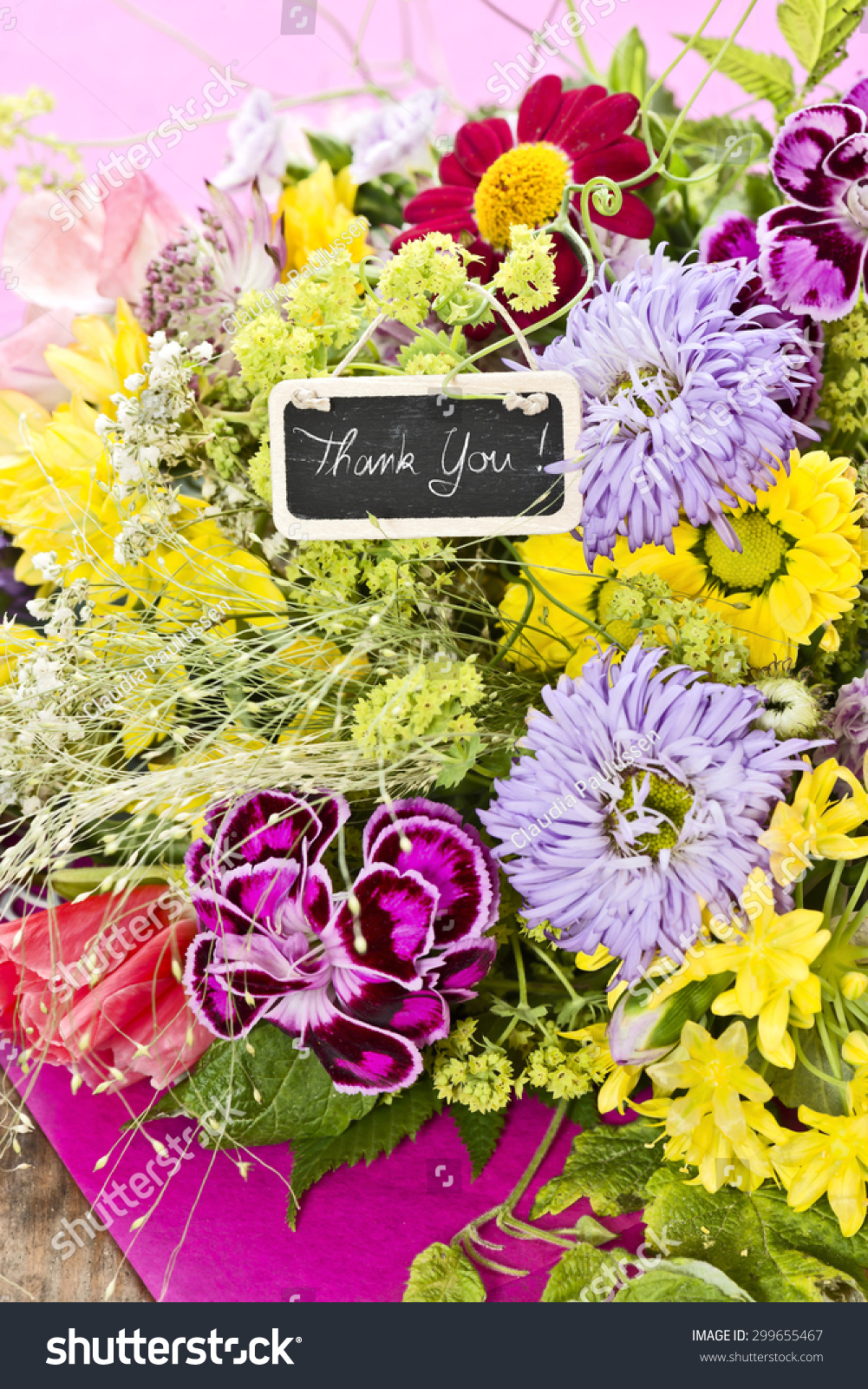 Bouquet Flowers Tag Saying Thank You Stock Photo (Download Now ...