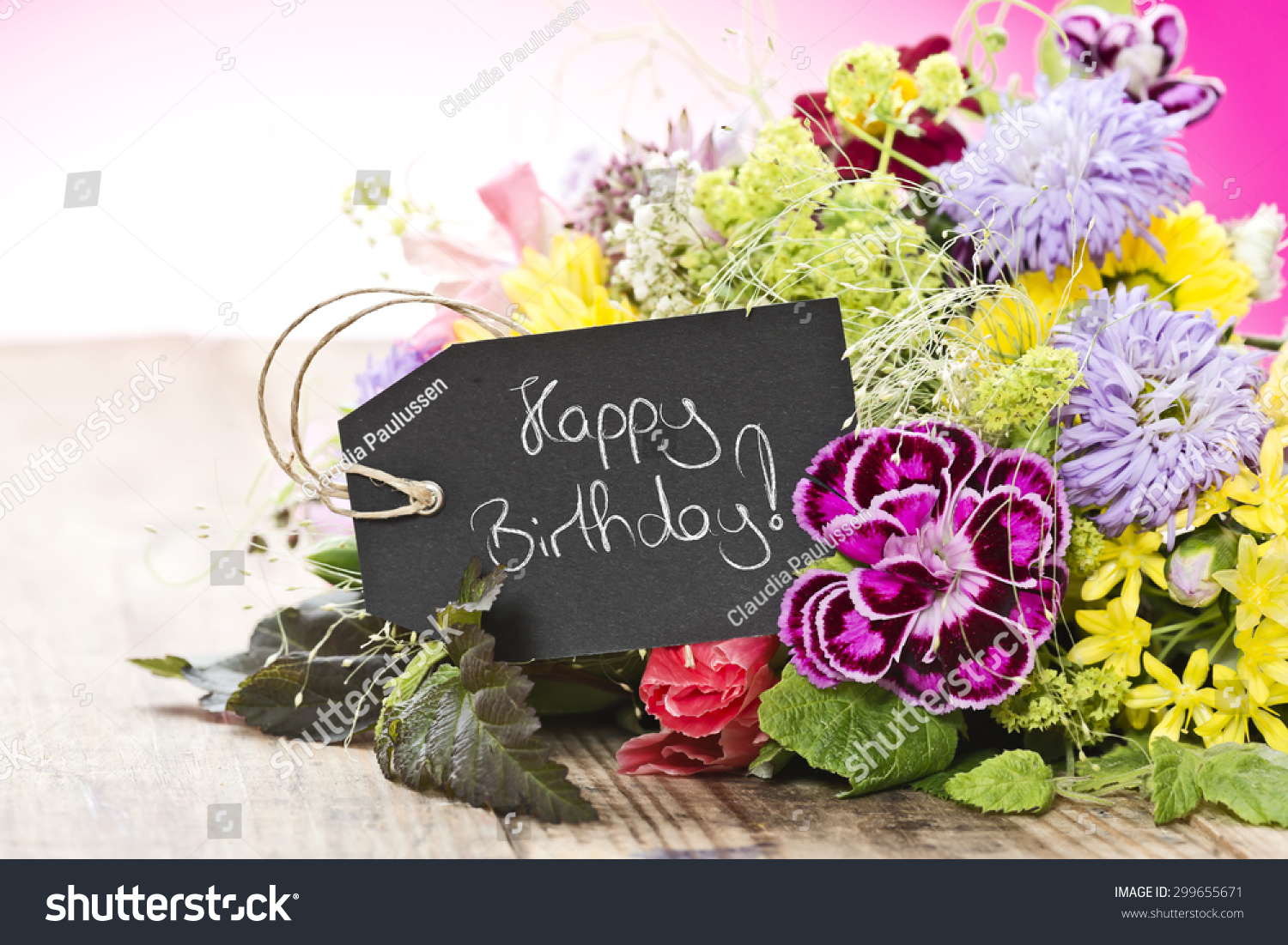 Bouquet Flowers Tag Saying Happy Birthday Stock Photo (Royalty Free ...