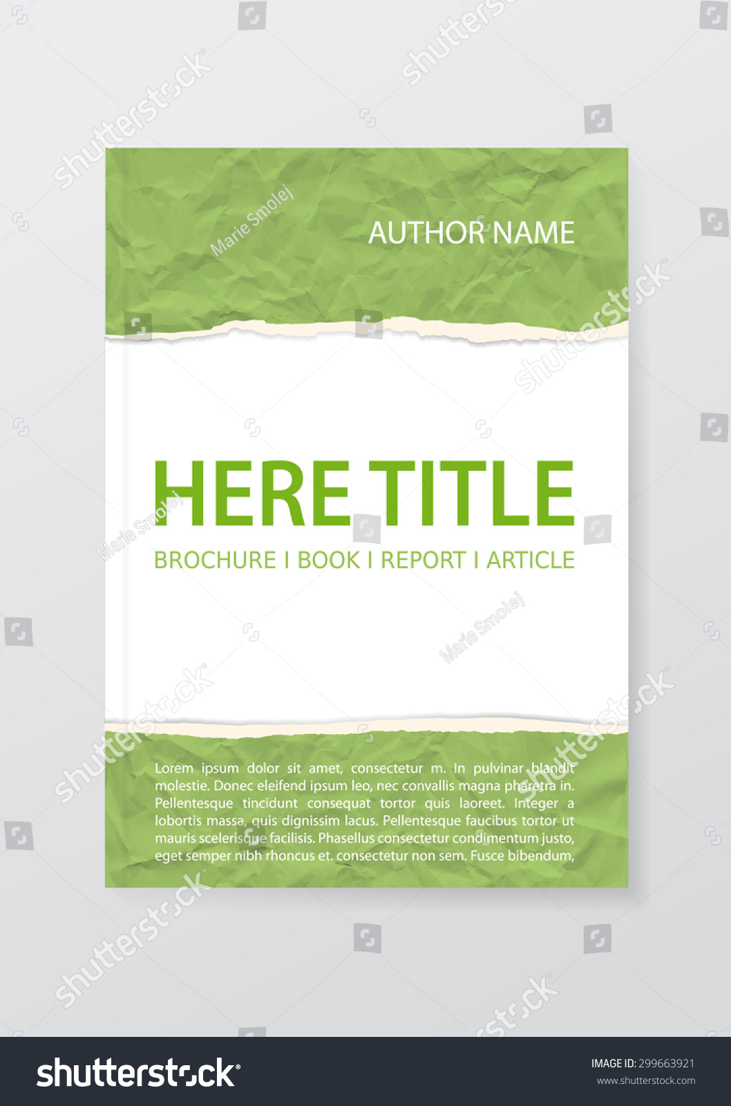 Torn Paper Book Cover : Vector brochure report book cover article template