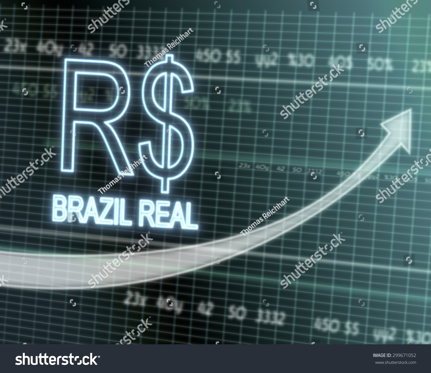 Successful investmanet chart brazil real symbol stock illustration successful investmanet chart with a brazil real symbol on a stock market table with rising graph buycottarizona Images