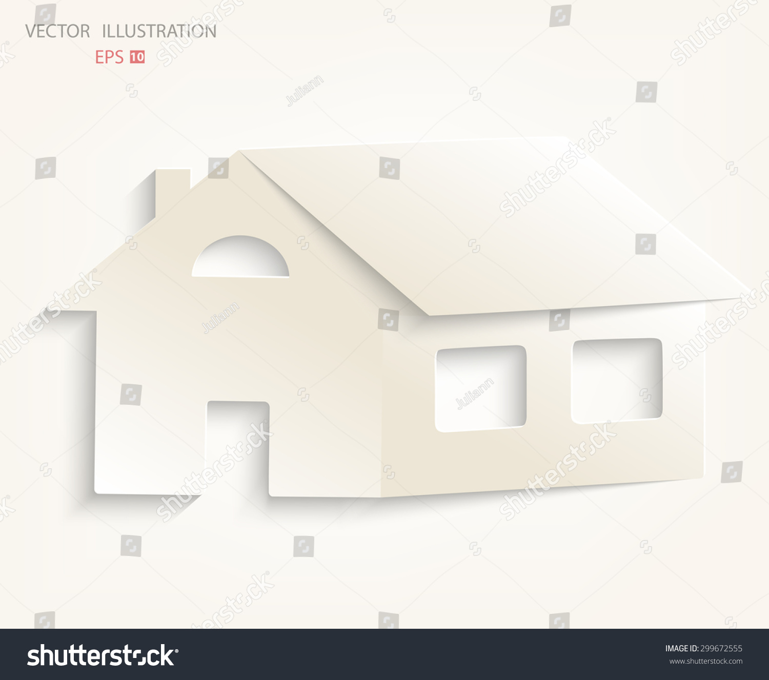 Paper house on a white background icon home vector illustration modern design template