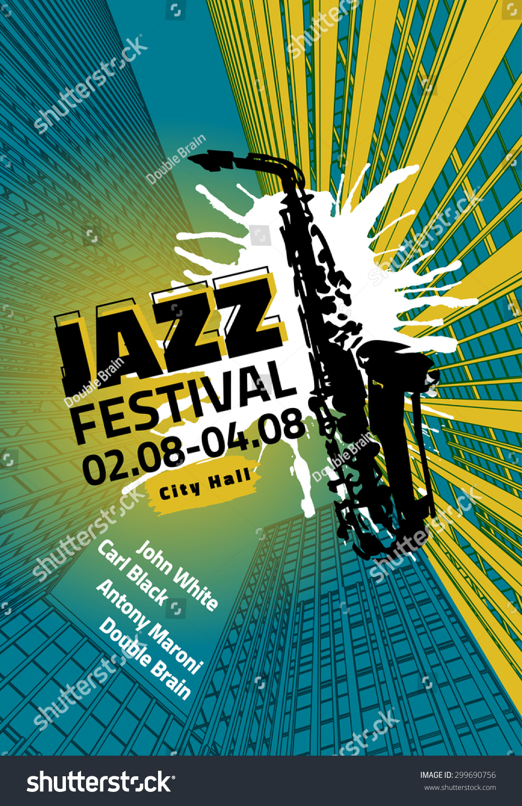 With Hand Drawn Saxophone. Modern Graphic Design For Festival, Concert ...