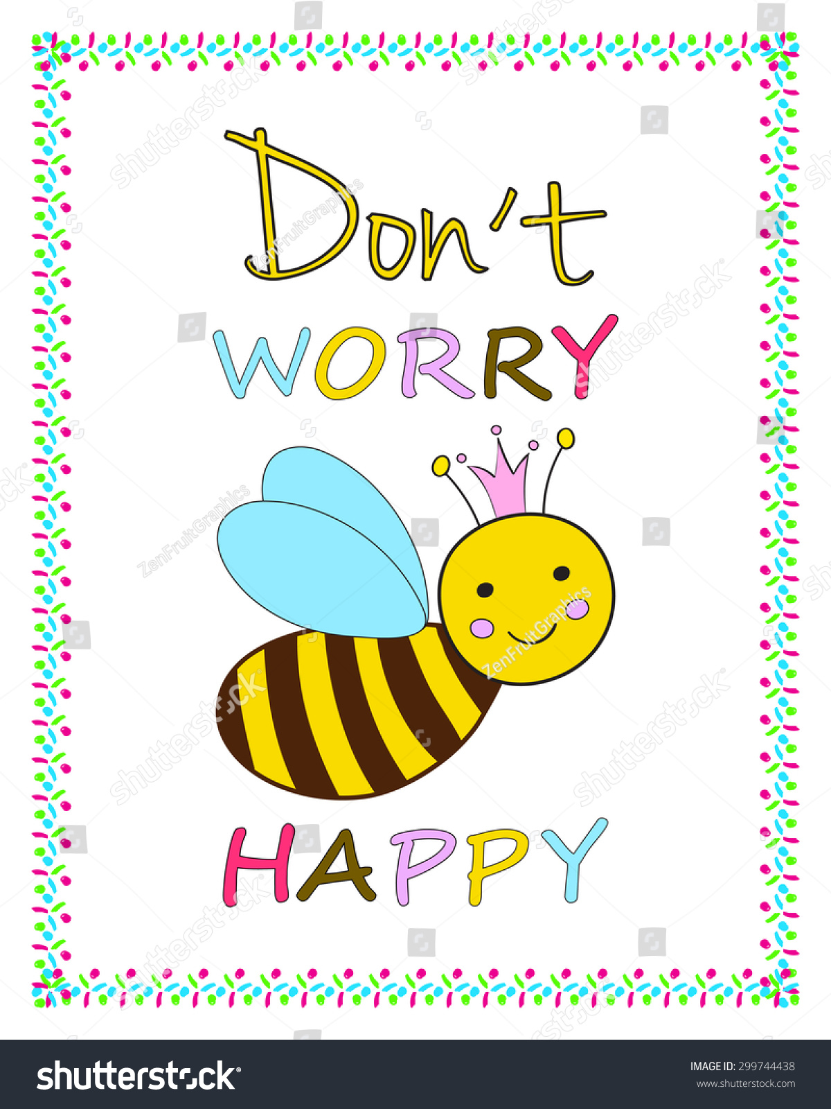 Funny Greeting Card Template Smiling Queen Stock Vector