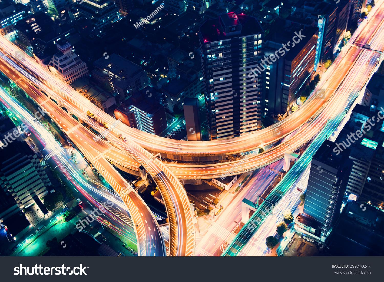 stock photo aerial view of a massive highway intersection at night in shinjuku tokyo japan 299770247 - asdasd