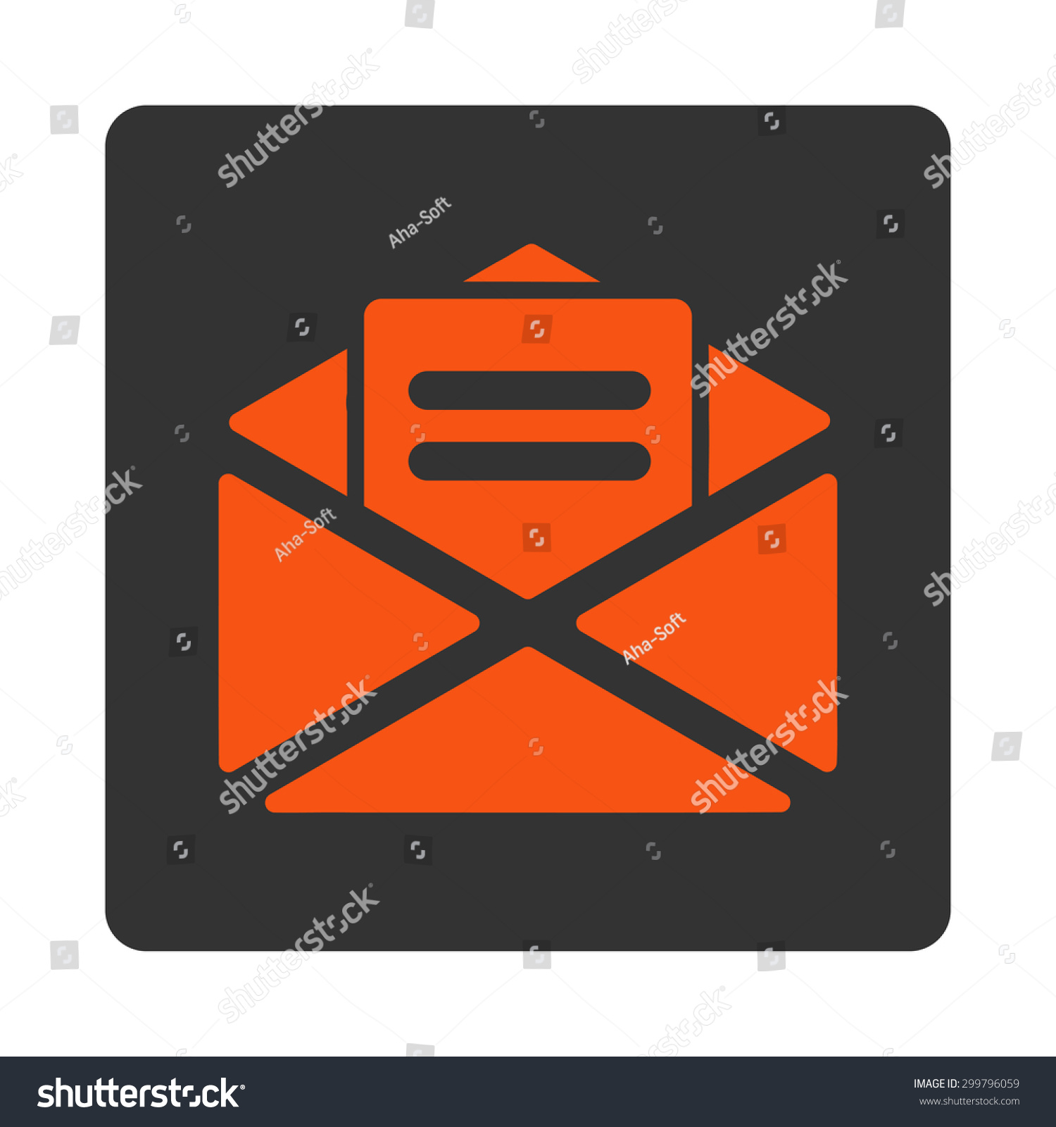 Open Mail Icon Glyph Style Orange Stock Illustration 299796059 ...