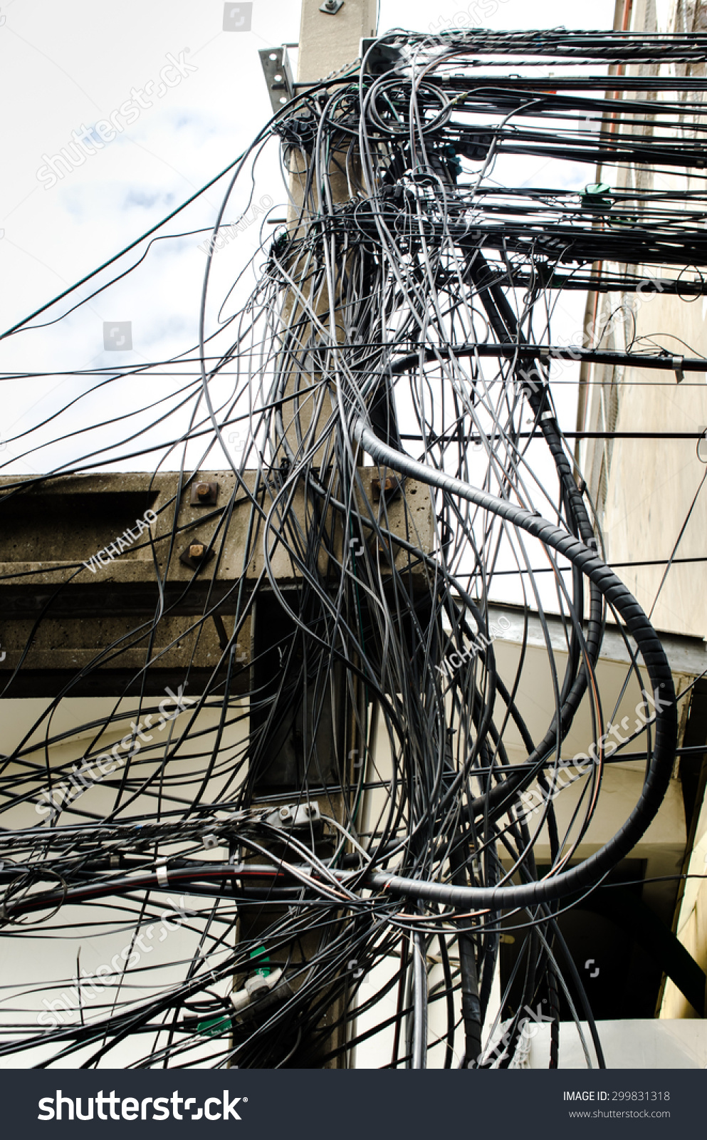 Royalty Free Tangle Of Electrical Wires Bangkok 299831318 Stock Electric Barbed Wire Photo Public Domain Pictures Thailand