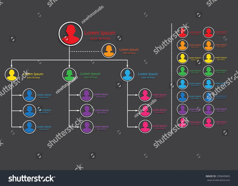 Colorful Male Female Symbols Organizational Chart Stock Vector
