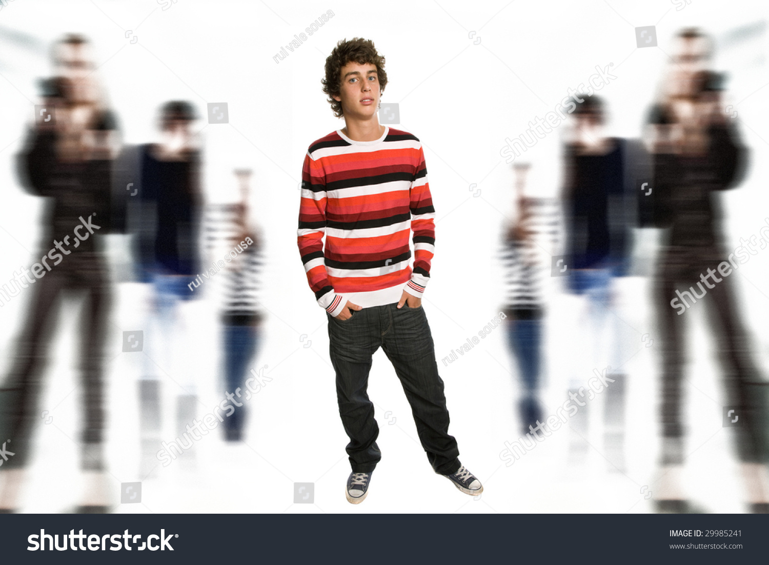 young casual boy full body among some out of focus people stock photo 29985241 shutterstock. Black Bedroom Furniture Sets. Home Design Ideas