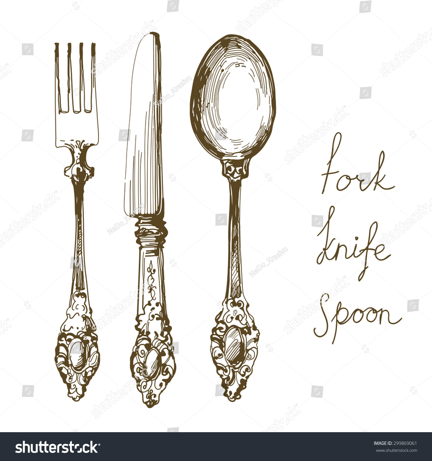 how to draw a fork and spoon
