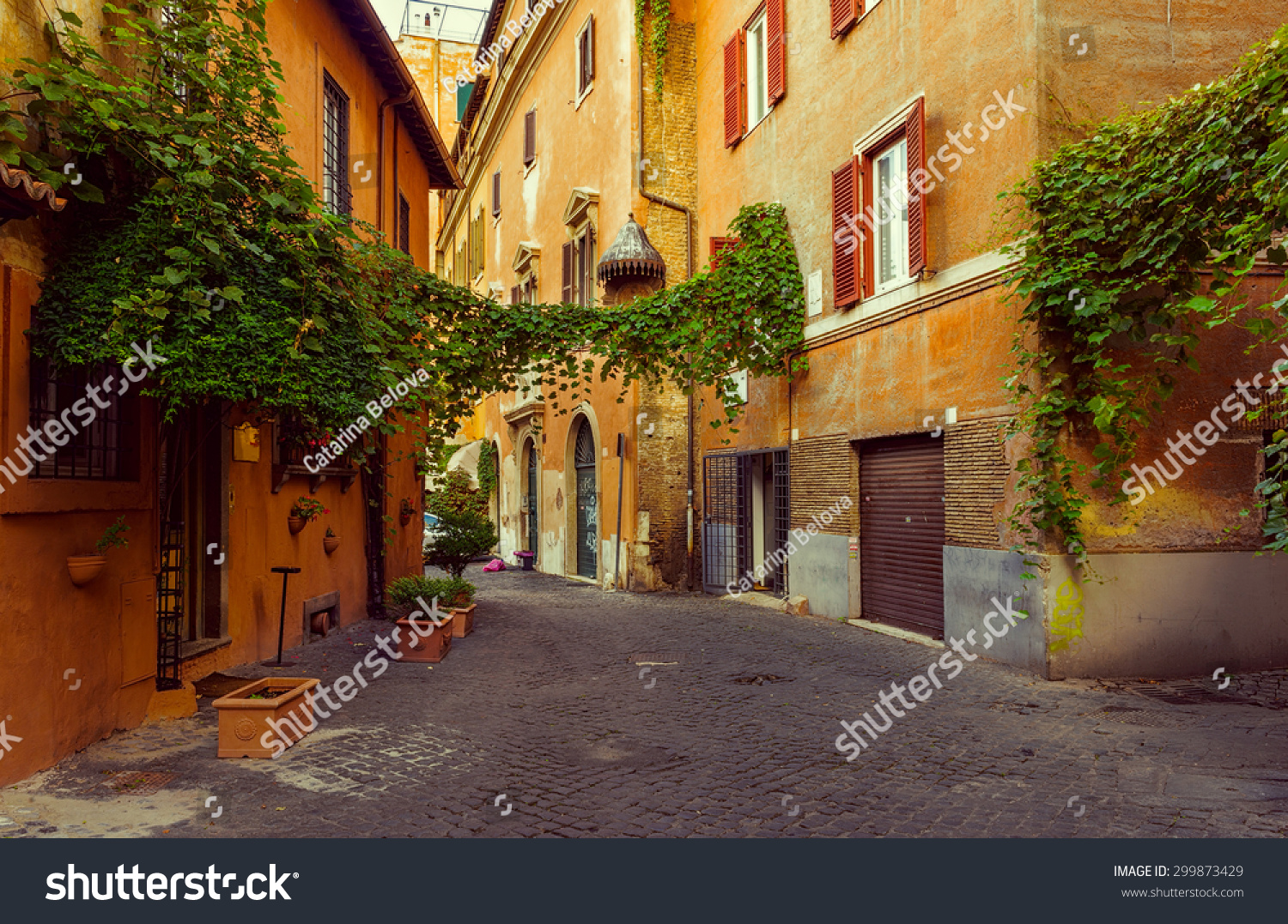 Old street in Trastevere in Rome Italy