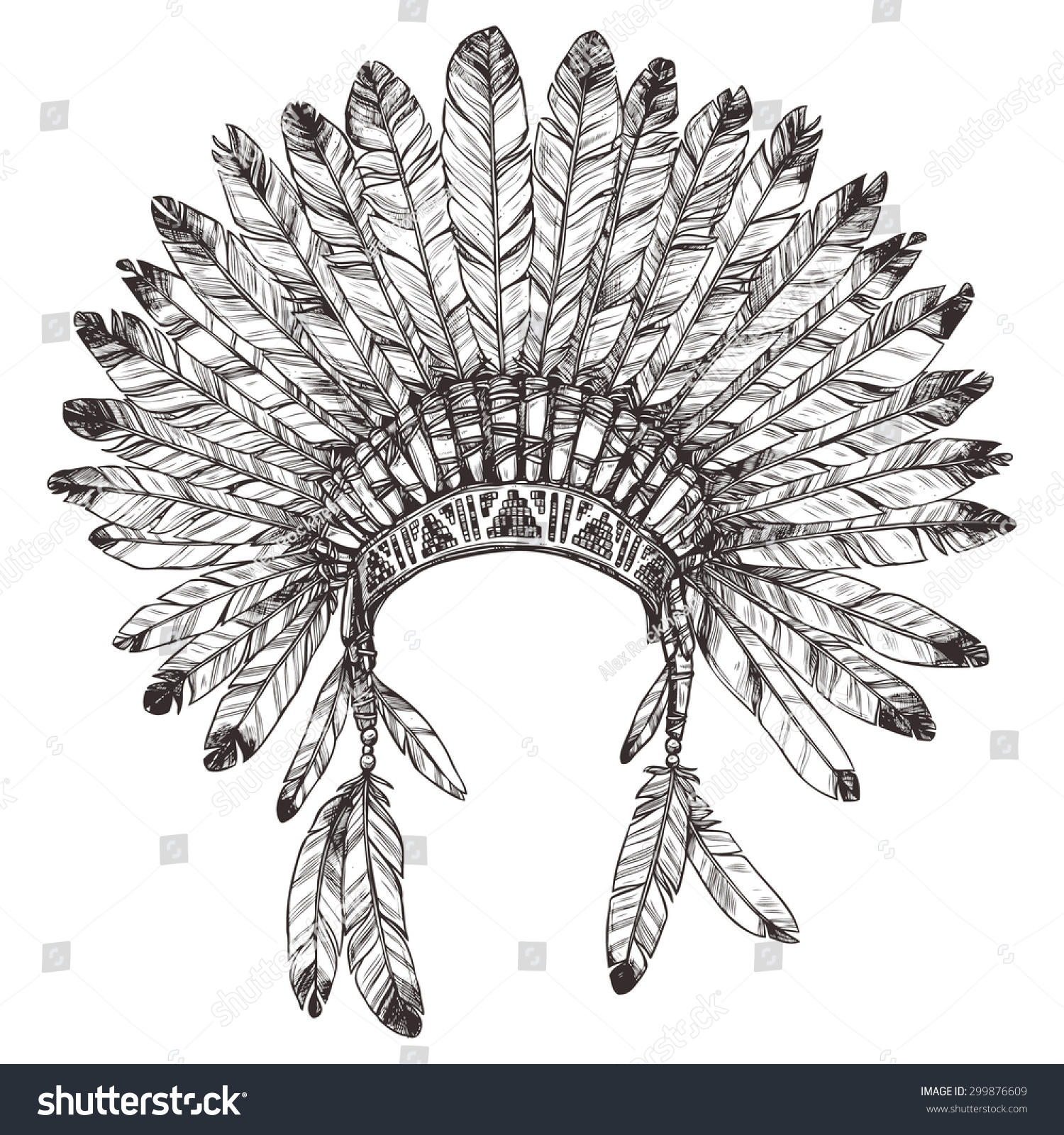 hand drawn native american indian headdress stock vector 299876609