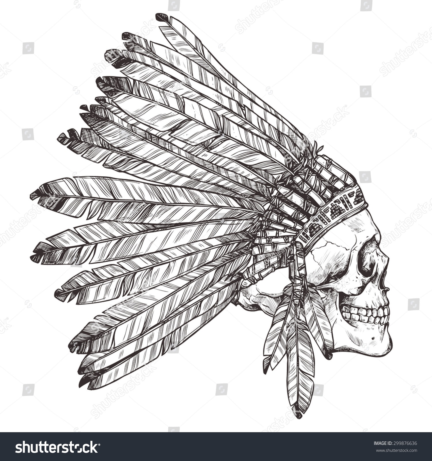 Vector monochrome illustration of indian tribal chief feather hat and