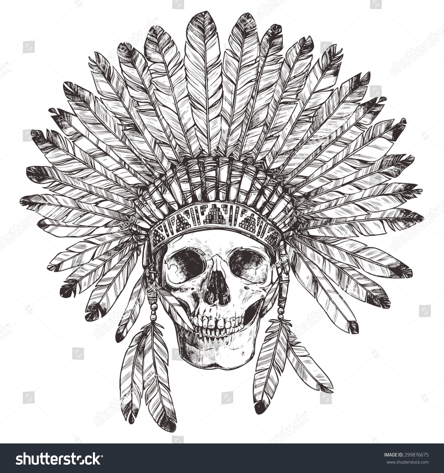 Indian Headdress Front View Drawing