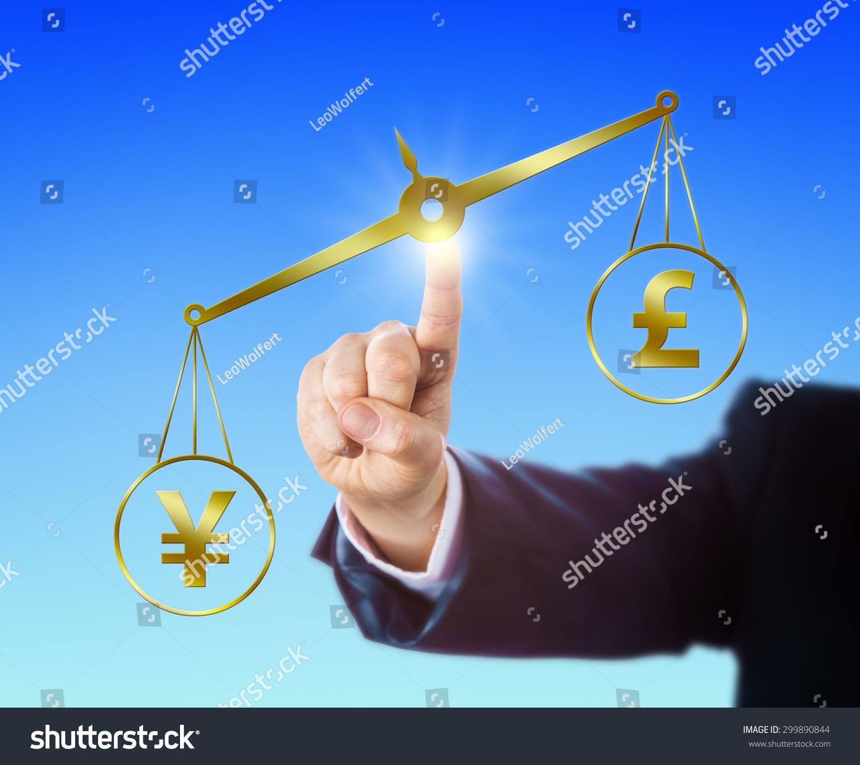 Japanese Yen Symbol Outweighing British Pound Stock Photo Sterling Sign