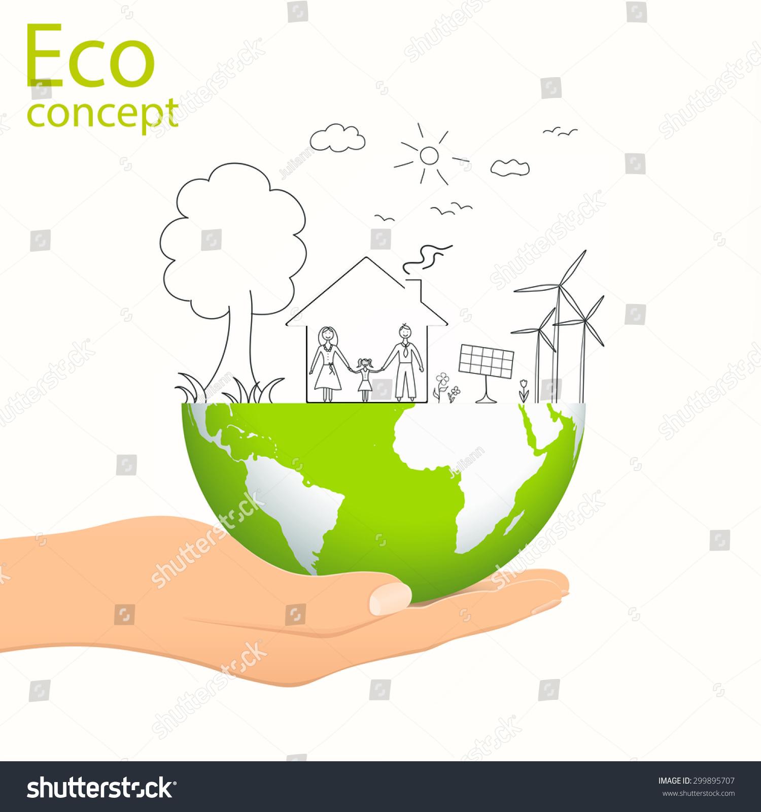 Creative Drawing Green World Map Global Stock Vector Royalty Free