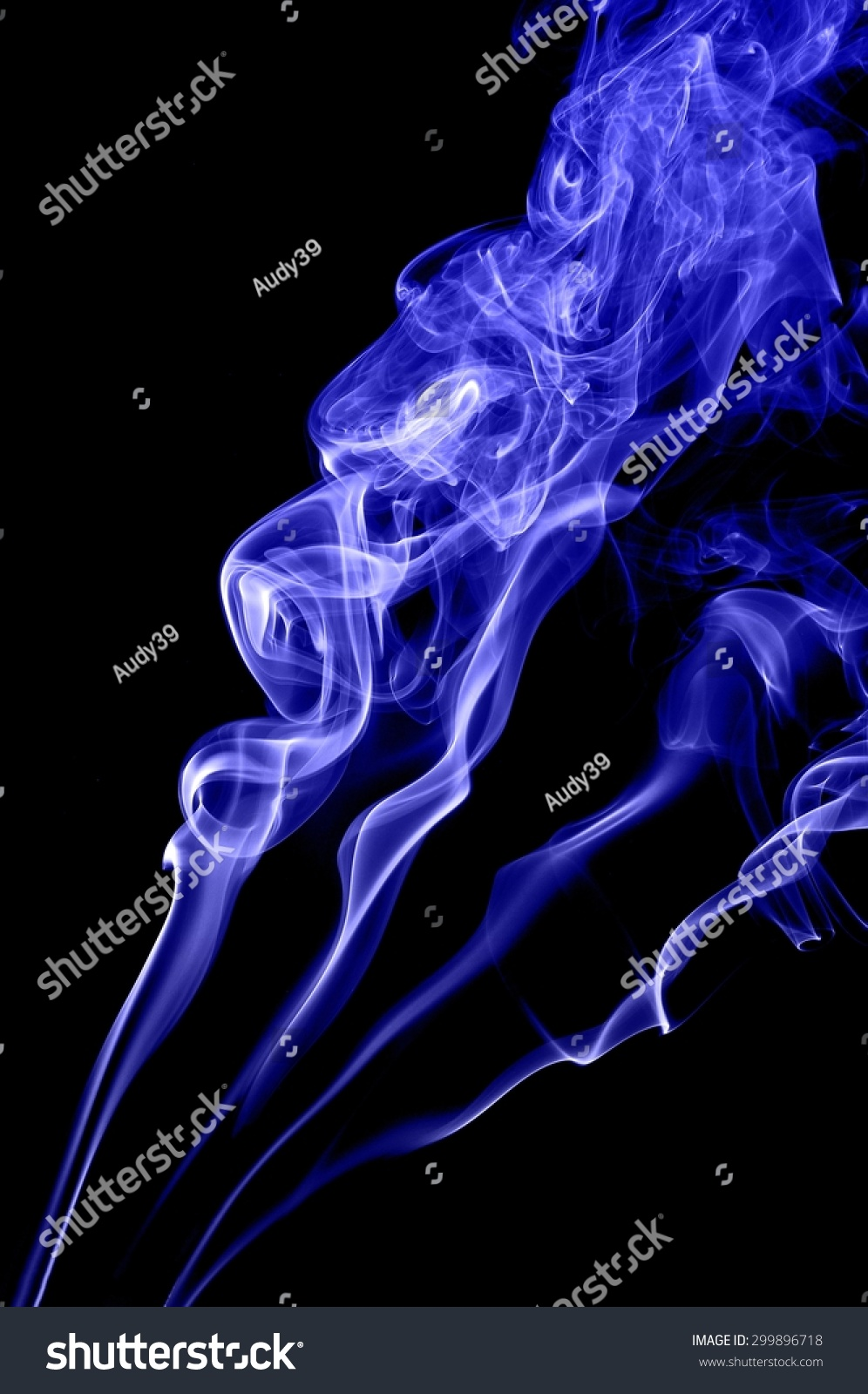 abstract blue smoke on black background stock photo