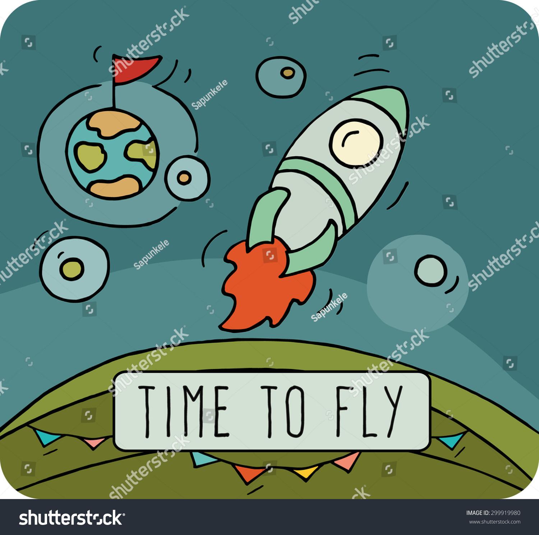 cartoon doodle rocket fly space cute stock vector 299919980
