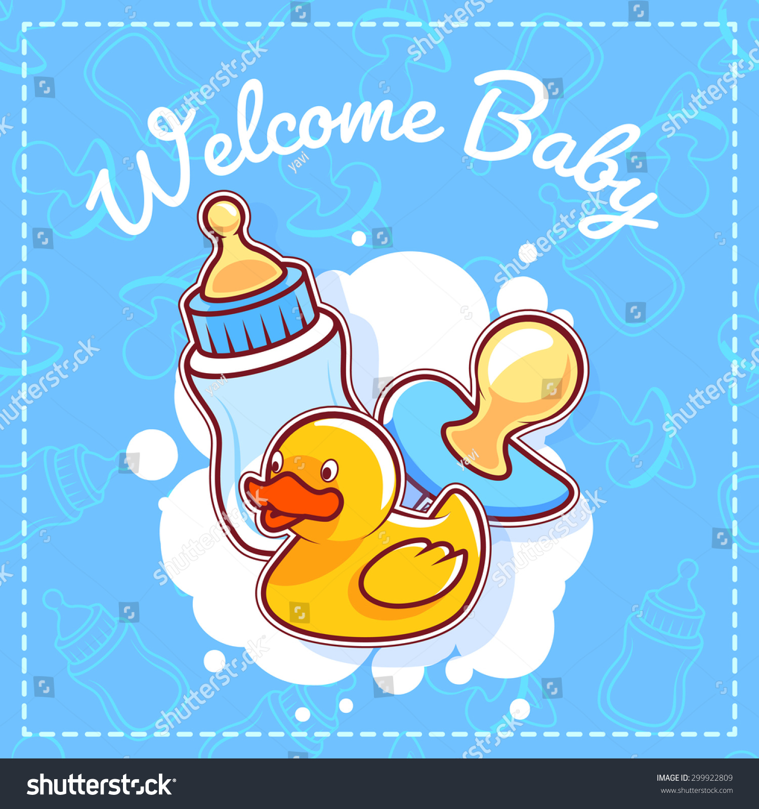 Baby shower greeting card welcome baby stock vector 299922809 baby shower greeting card welcome baby template baby shower card for boy in blue negle Gallery