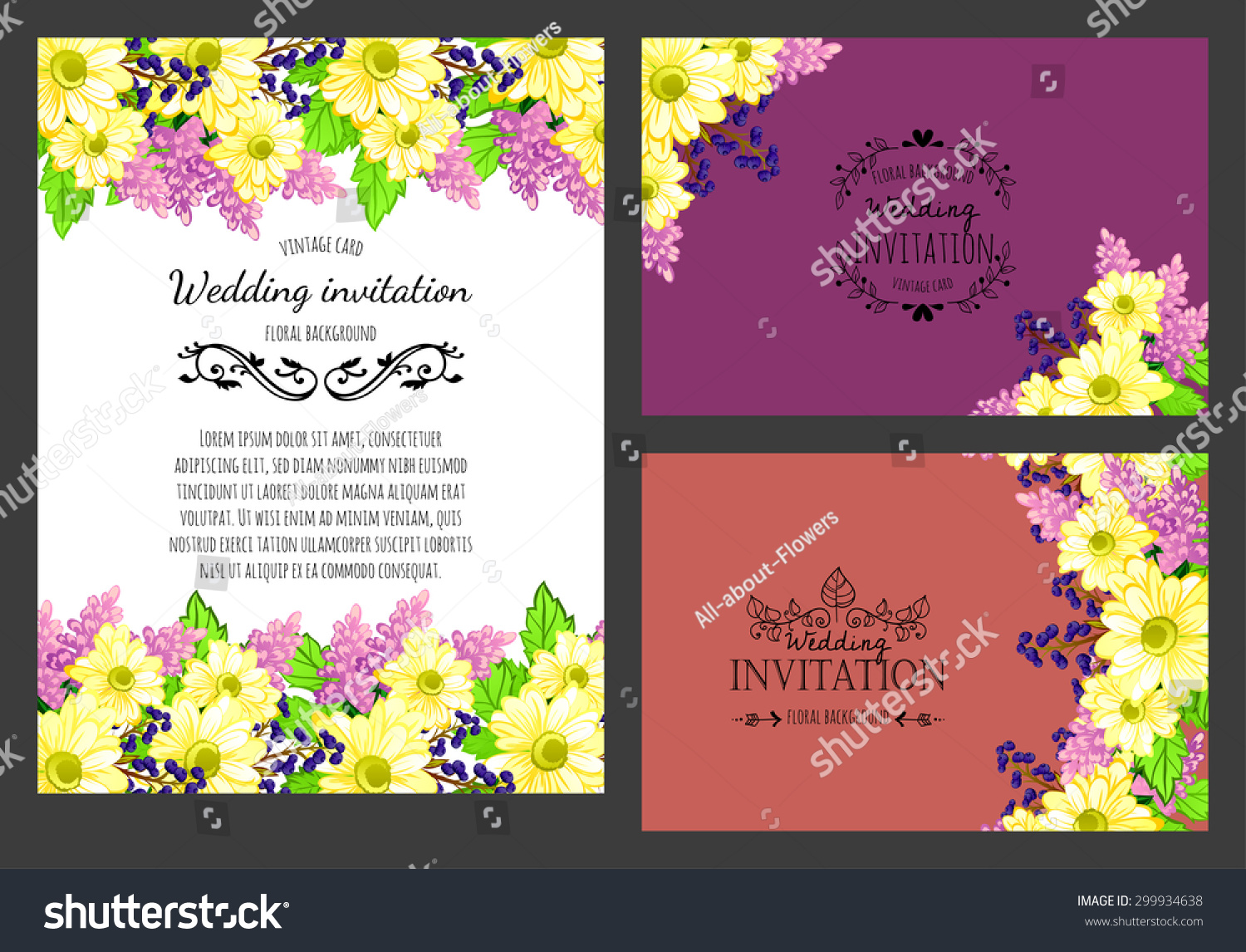 Delicate Invitation Card Beautiful Flowers Easy Stock Illustration ...
