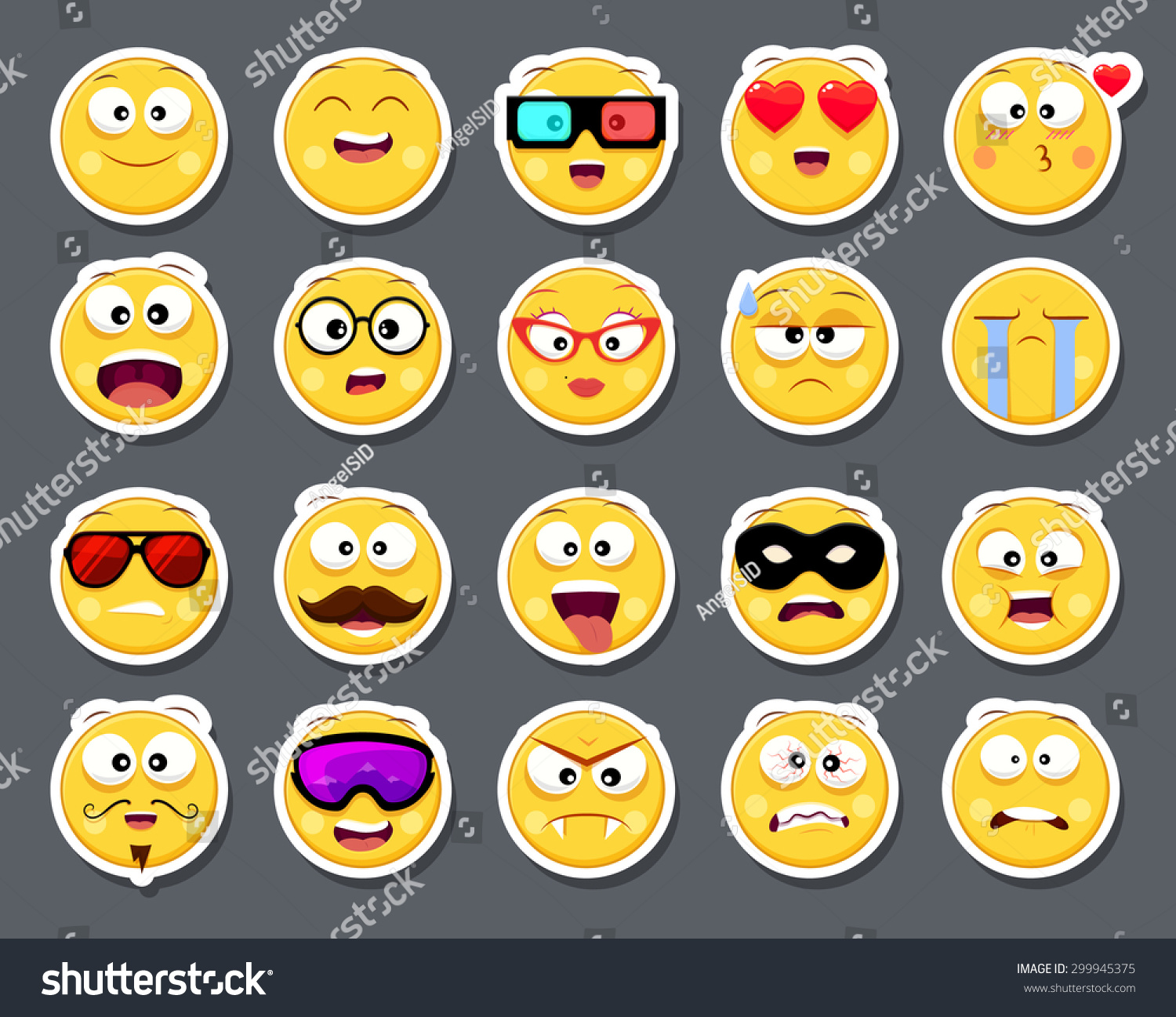Set 20 Cute Smiley Faces Stickers Stock Vector Hd Royalty Free