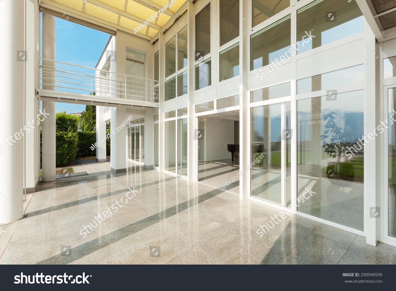 Architecture Wide Veranda Modern House Exterior Stock Photo