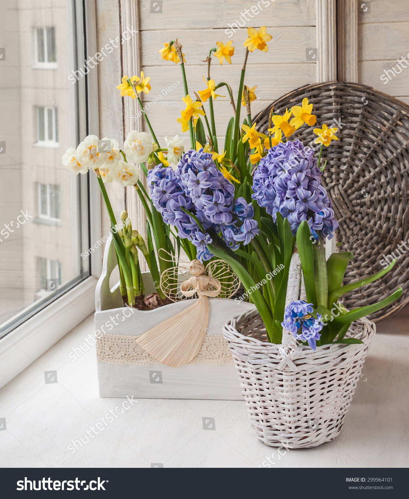 White And Yellow Daffodils And Hyacinth In Flower Box Decorated With An  Angel On The Balcony Window | EZ Canvas