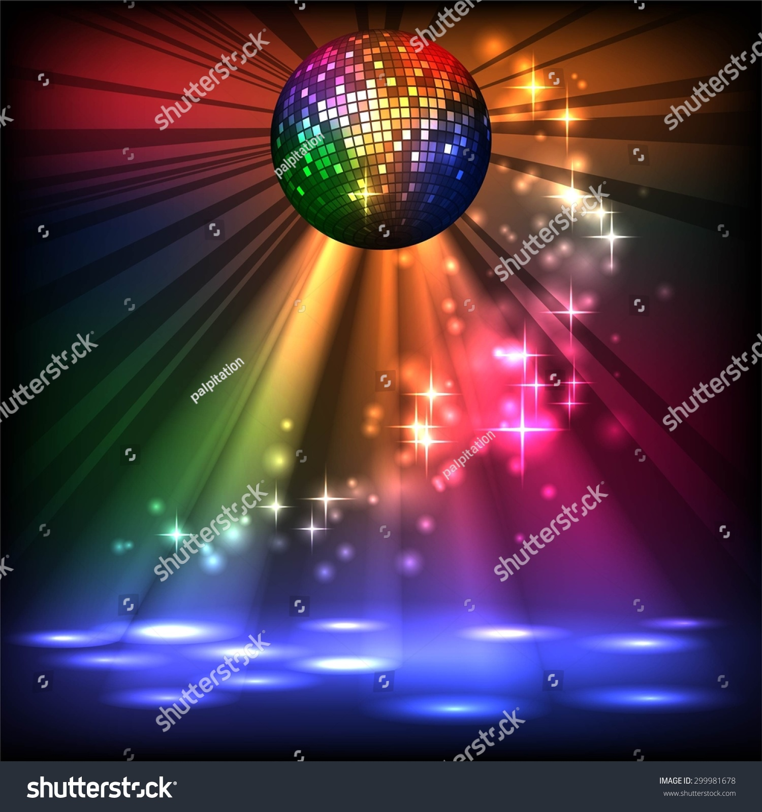 Sparkling Disco Ball Night Party Stock Vector 299981678 ...