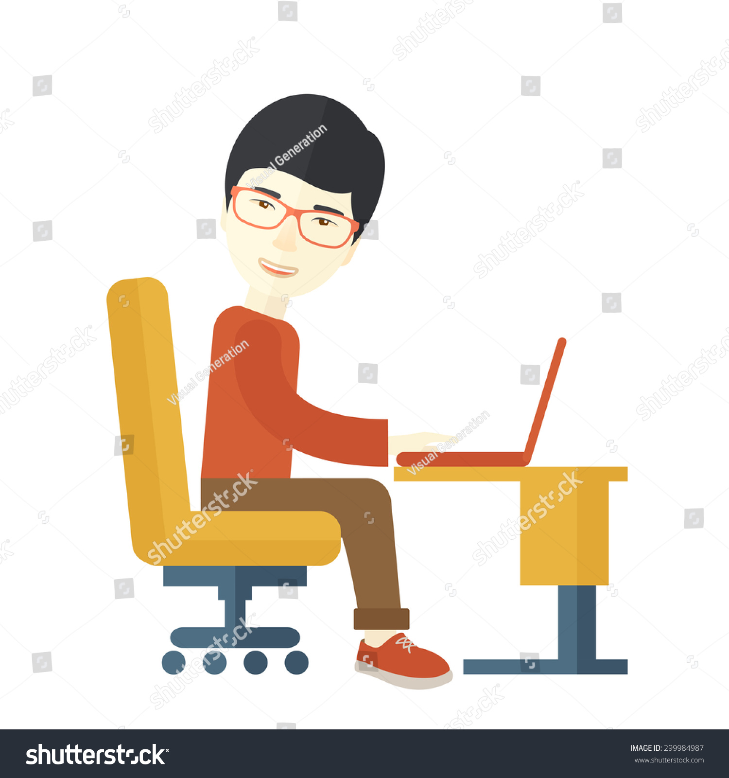 Japanese Guy Sitting Front Computer Looking Stock Vector