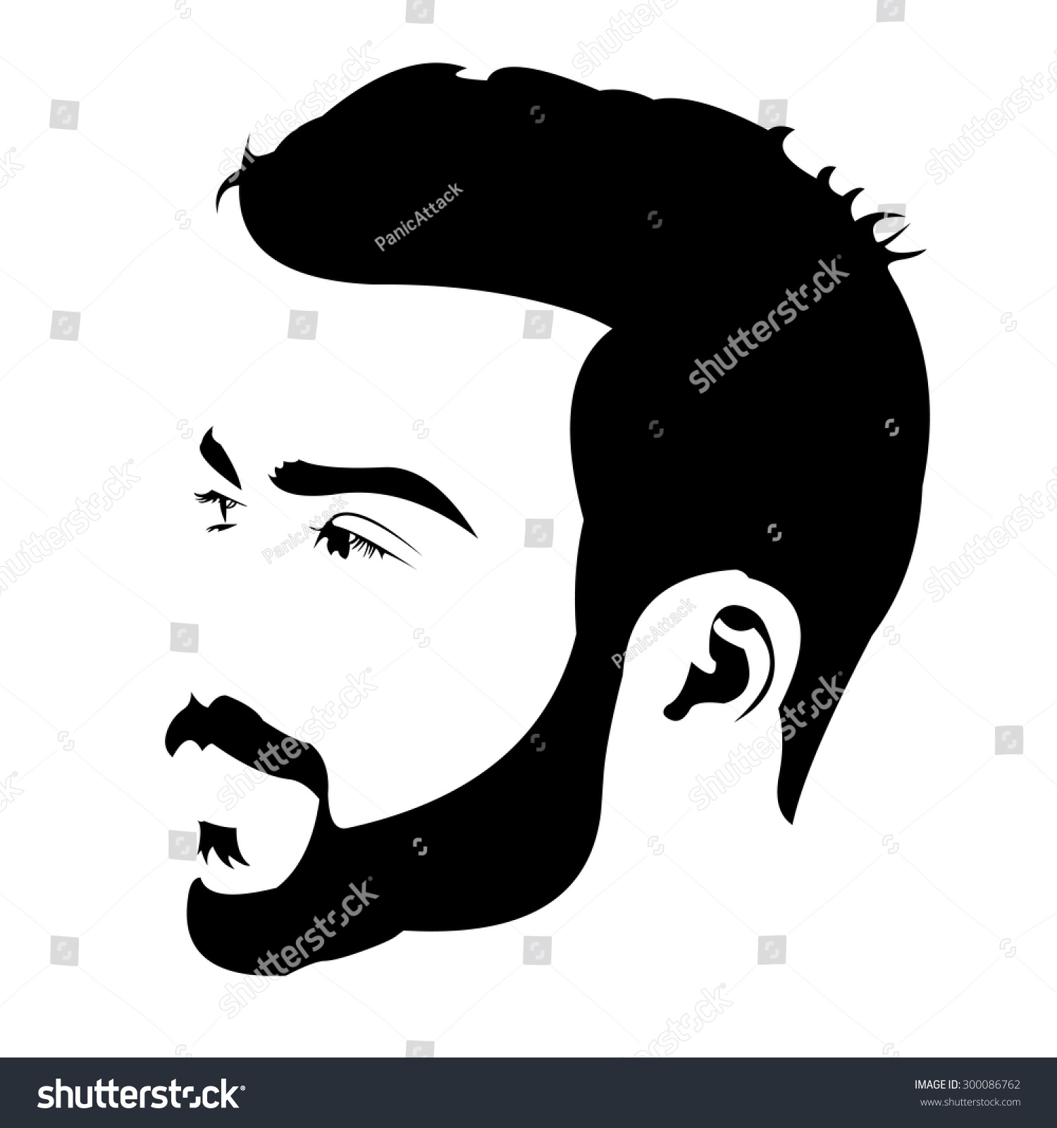 profile view young bearded man looking stock vector