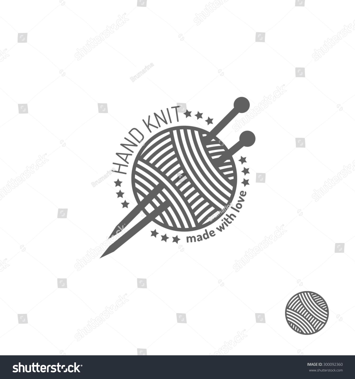 Knitting Club Logo : Hand knit label badge or logo design elements stock