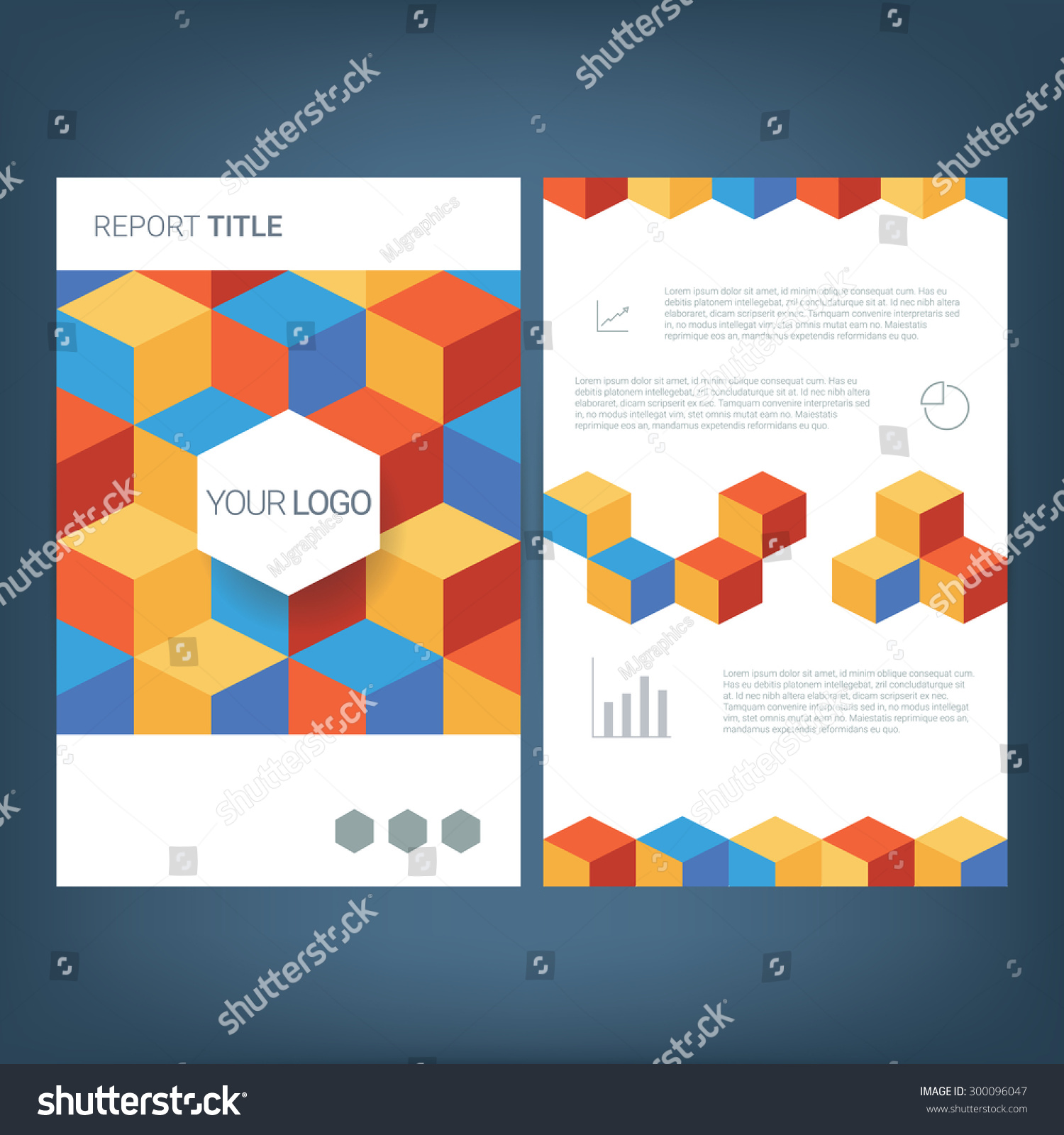 report cover template low polygonal cube patter geometric save to a lightbox