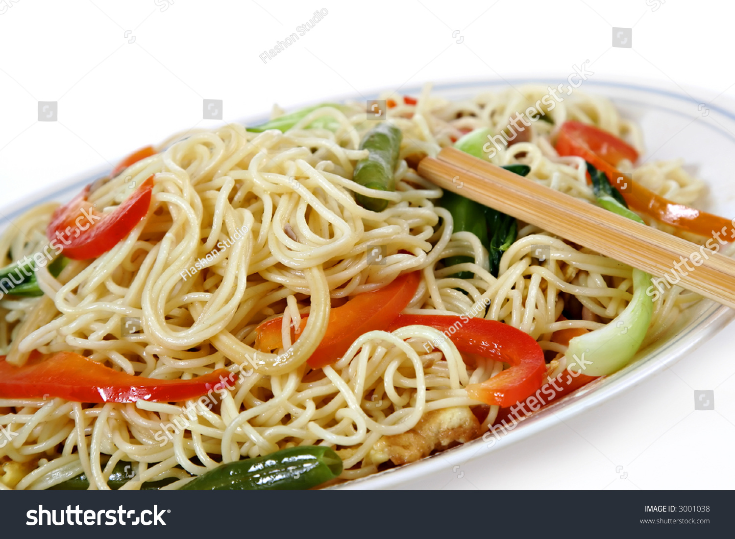 Vegetable Stir Fry Noodles, Traditional Chinese Dish Stock Photo ...