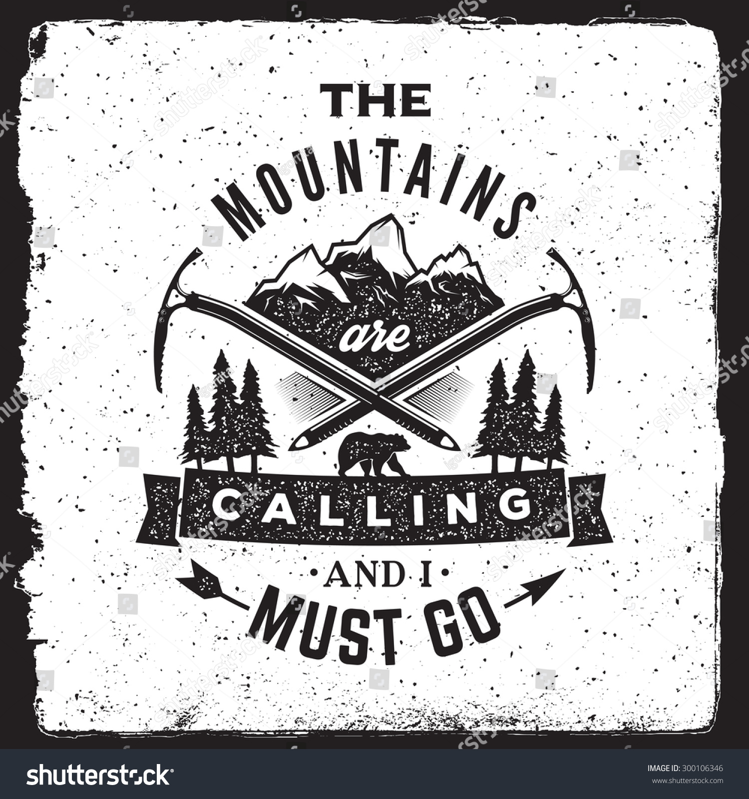 Wilderness and nature exploration vintage poster the for The mountains are calling and i must go metal sign