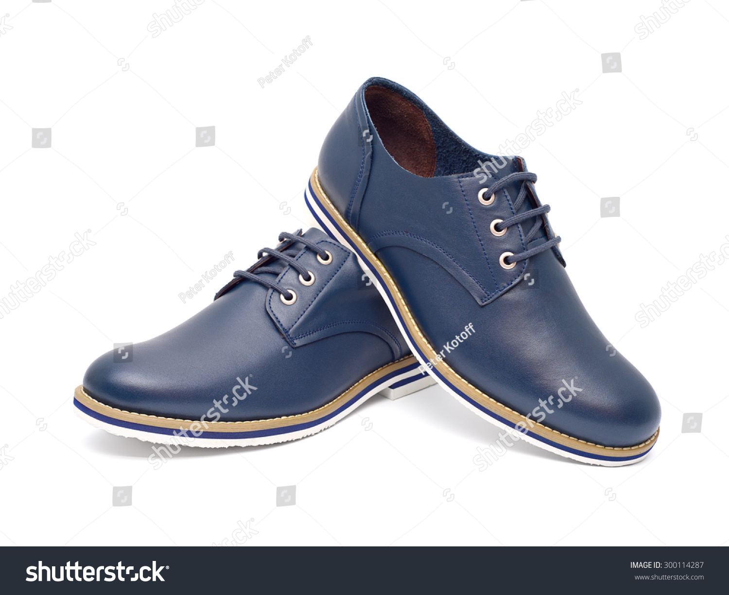 mens fashion shoes blue casual design stock photo