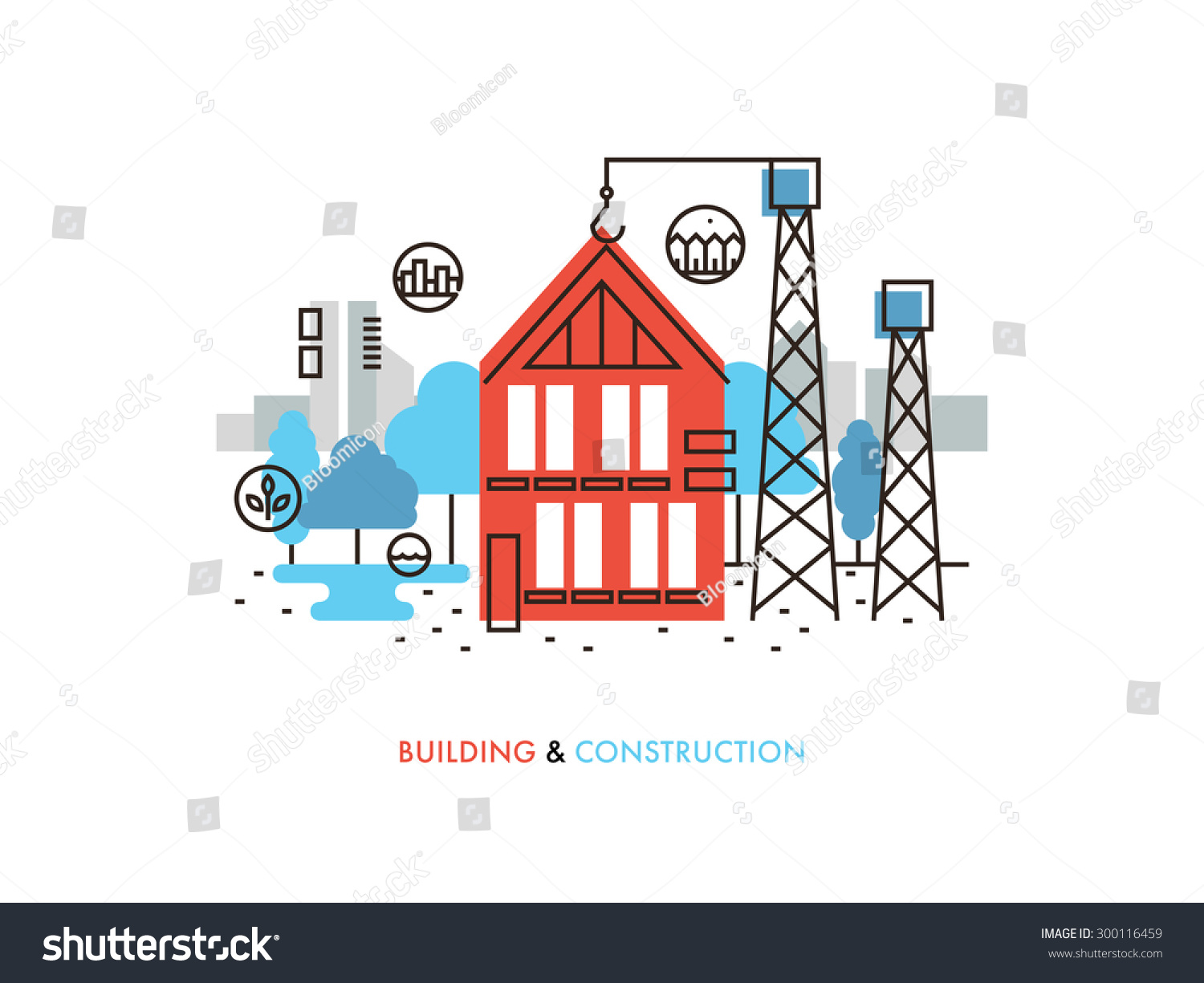 Thin line flat design constructing building stock vector for Process of building a new house