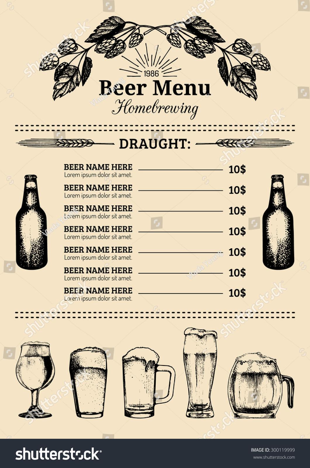 Royaltyfree Beer menu design template Vector bar 300119999 – Beer Menu