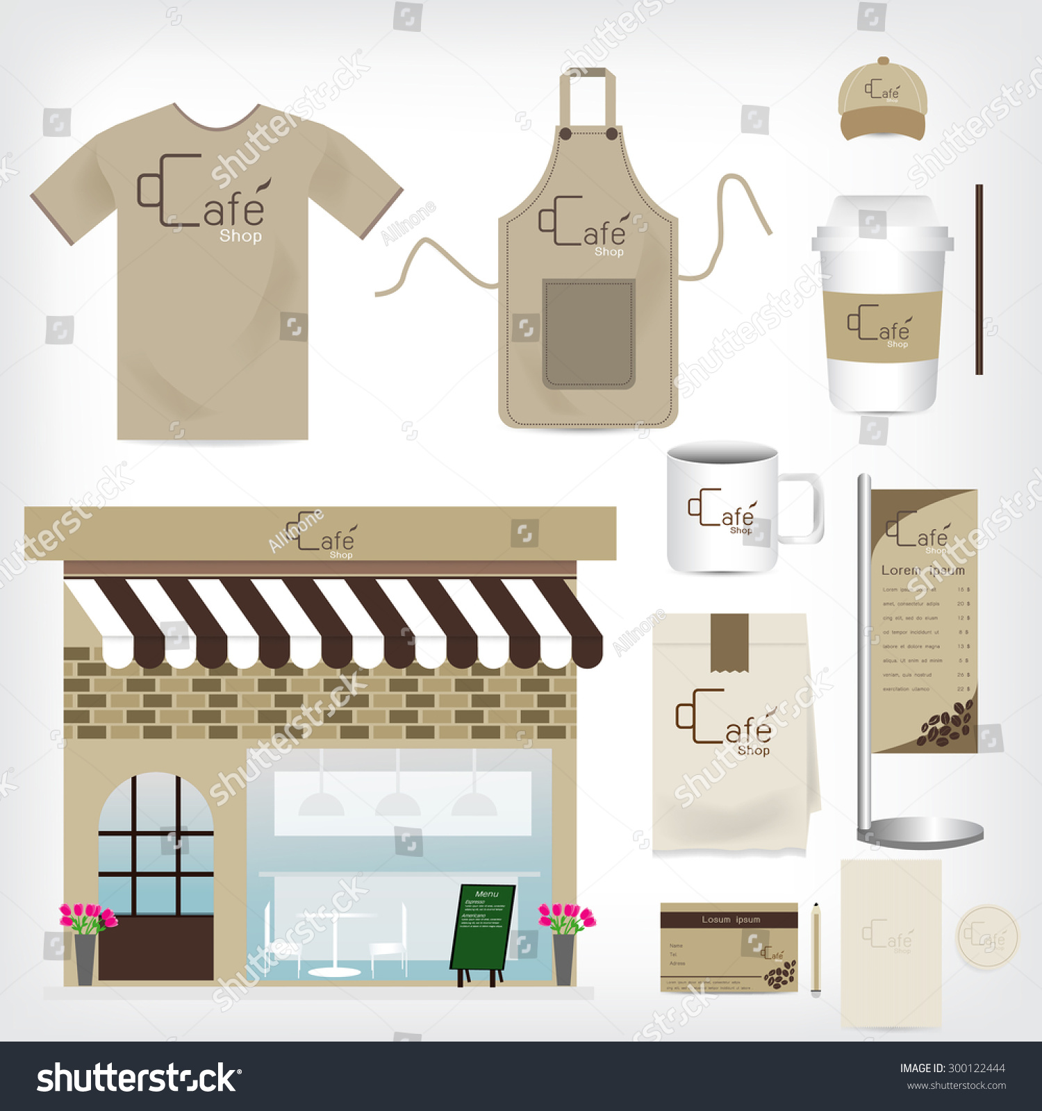 Vector Cafe Shop Set Can Be Stock Vector Royalty Free