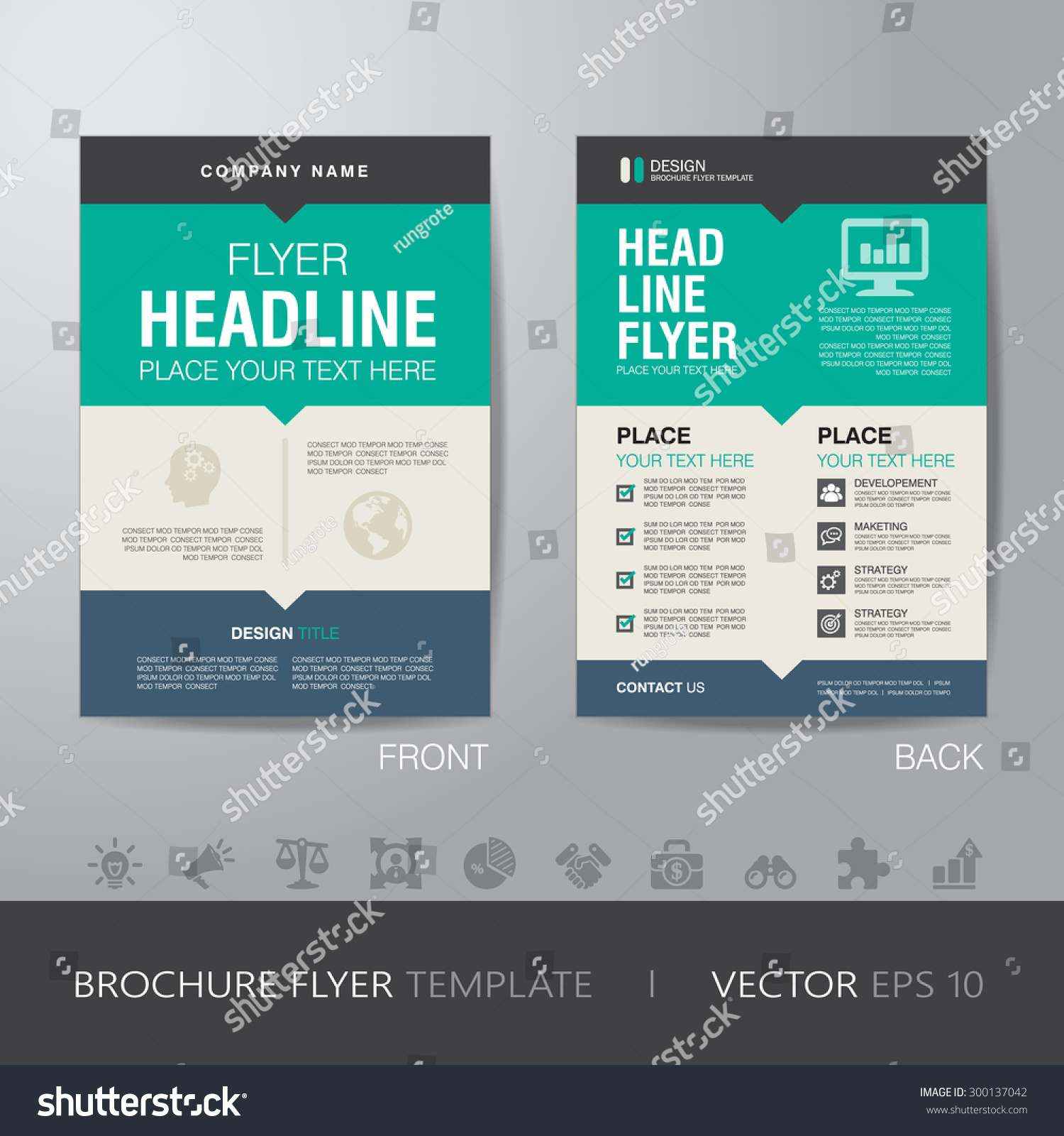corporate brochure flyer design layout template stock