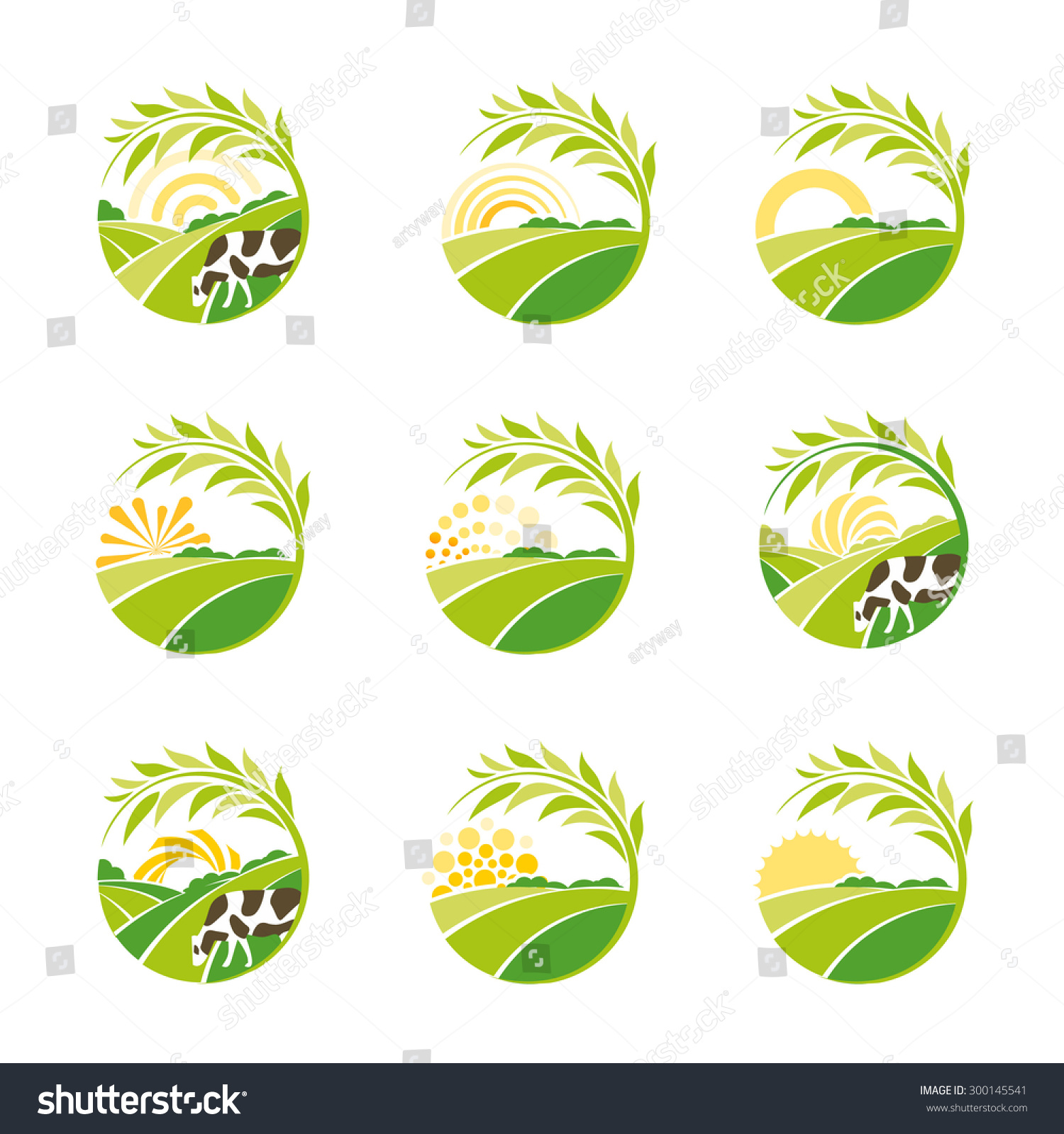 Farm isolated green logo collection. Rural landscape logos set ...