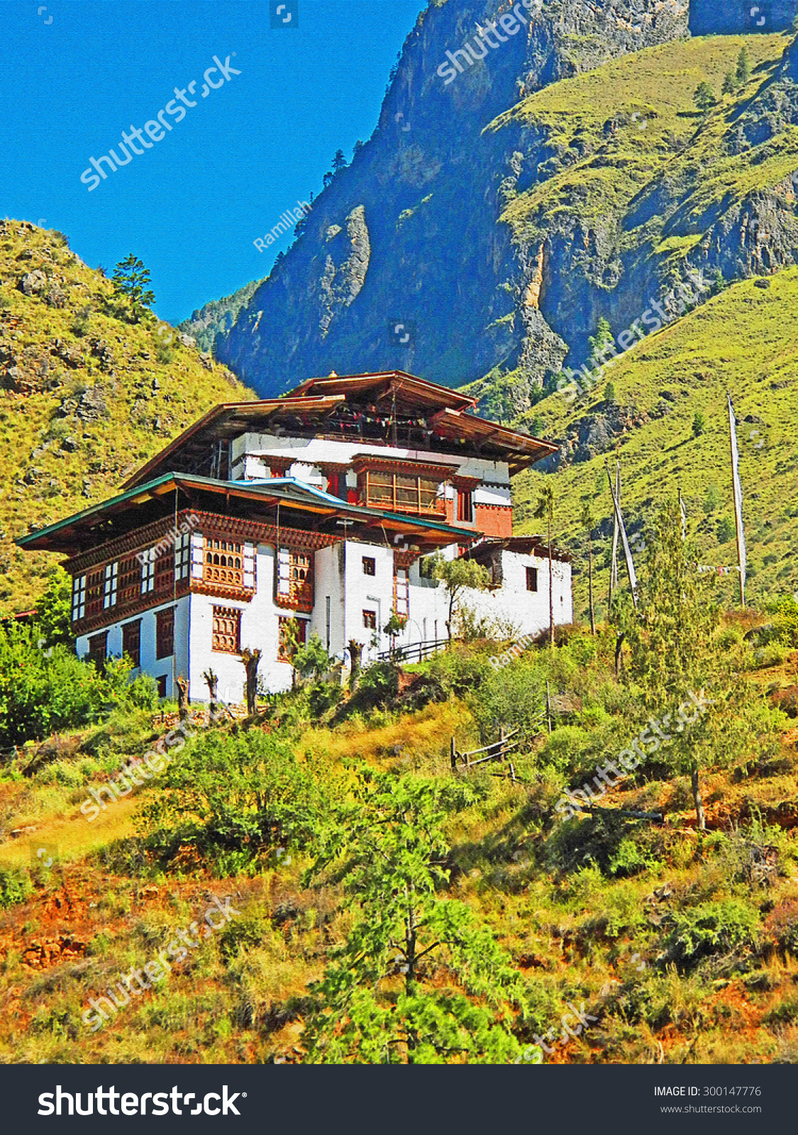 Color Painting Beautiful Scenery Traditional Bhutanese ...