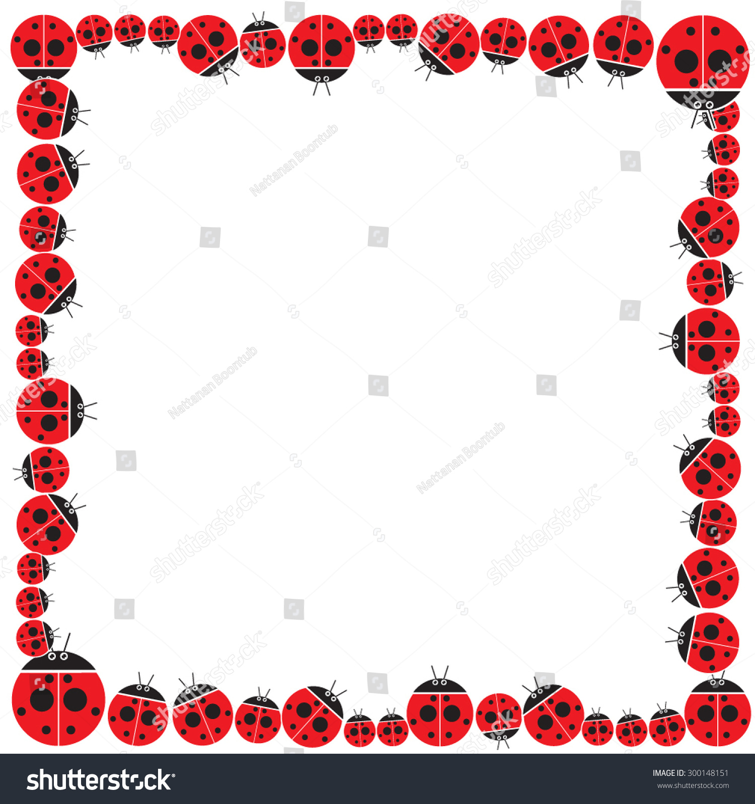 Ladybug Frame Design Vector Border Stock Vector (Royalty Free ...