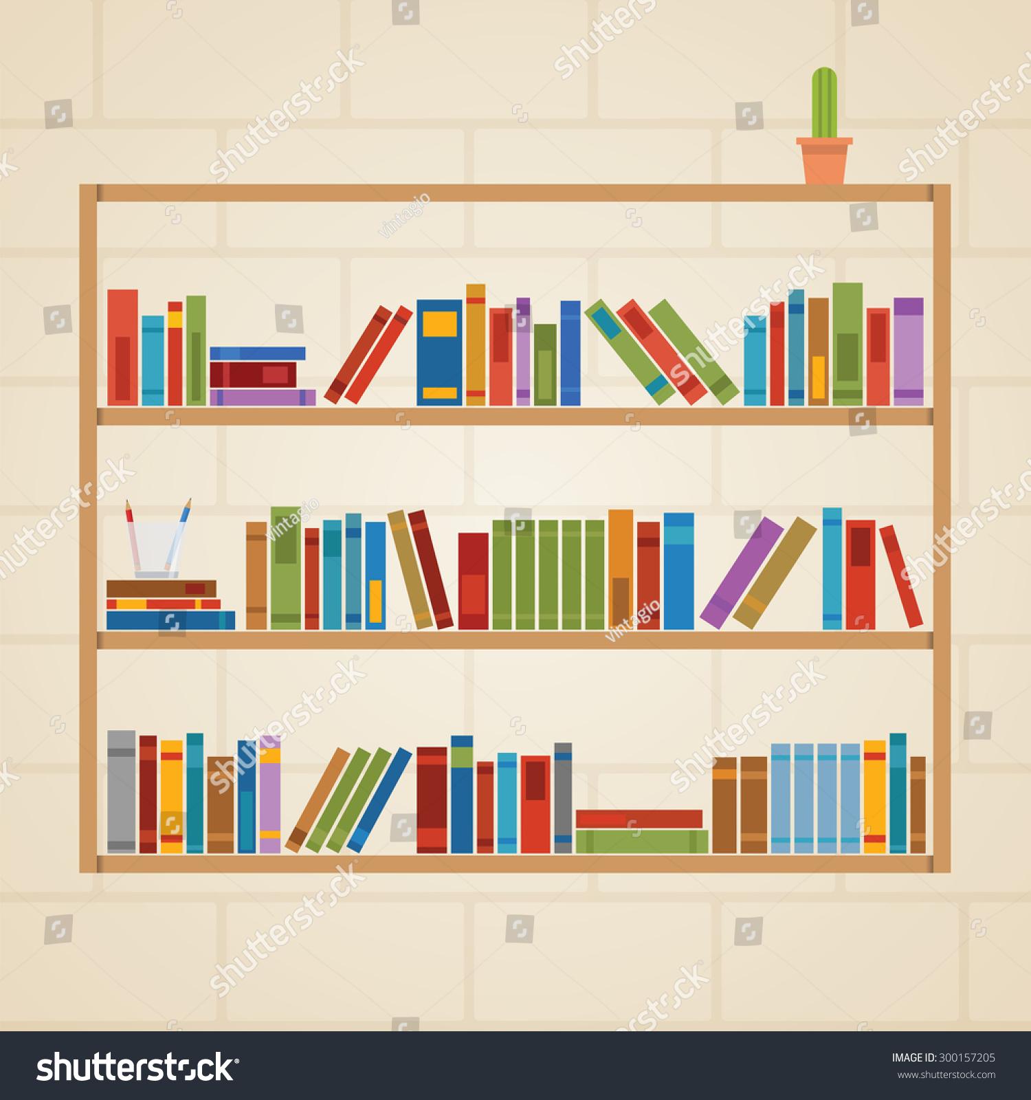 book shelf hanging on brick wall stock vector shutterstock