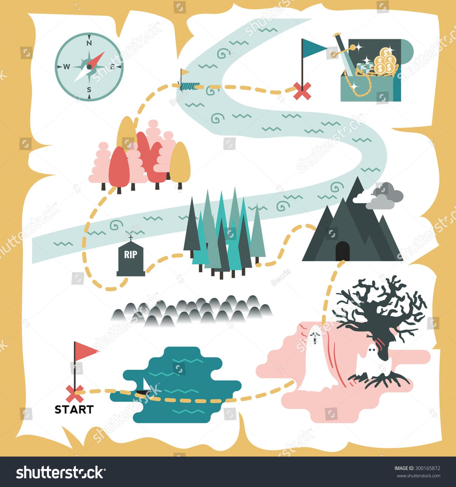 Illustration of creative treasure map flat design for Map designer free