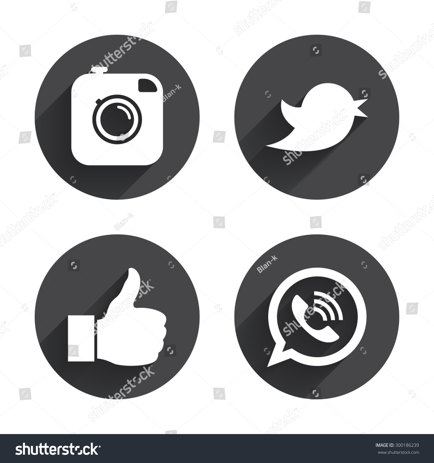 Hipster photo camera icon. Like and Call speech bubble sign. Bird symbol. Social media icons. Circles buttons with long flat shadow. Vector #300186239