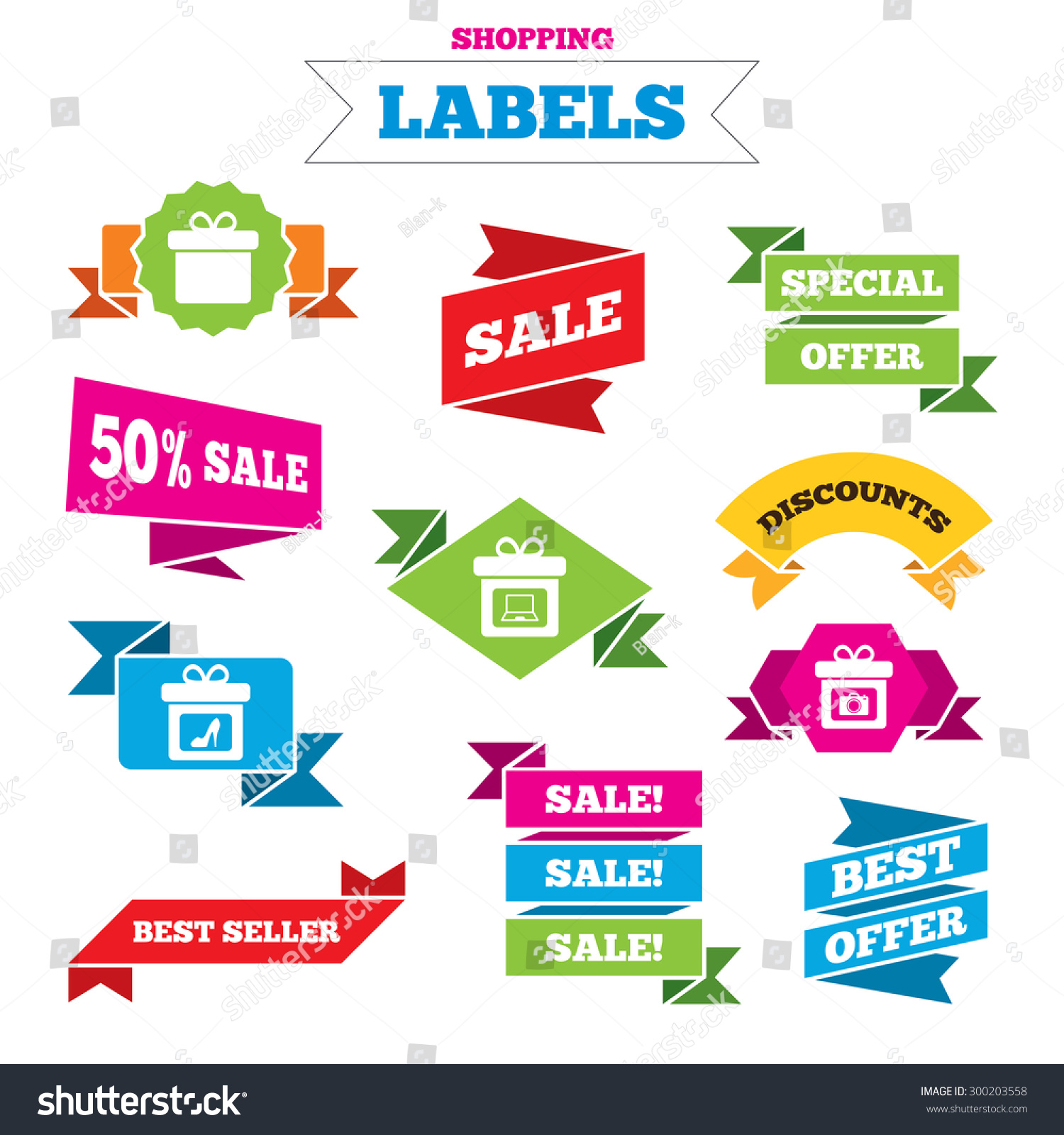 sale shopping labels gift box sign stock vector royalty free