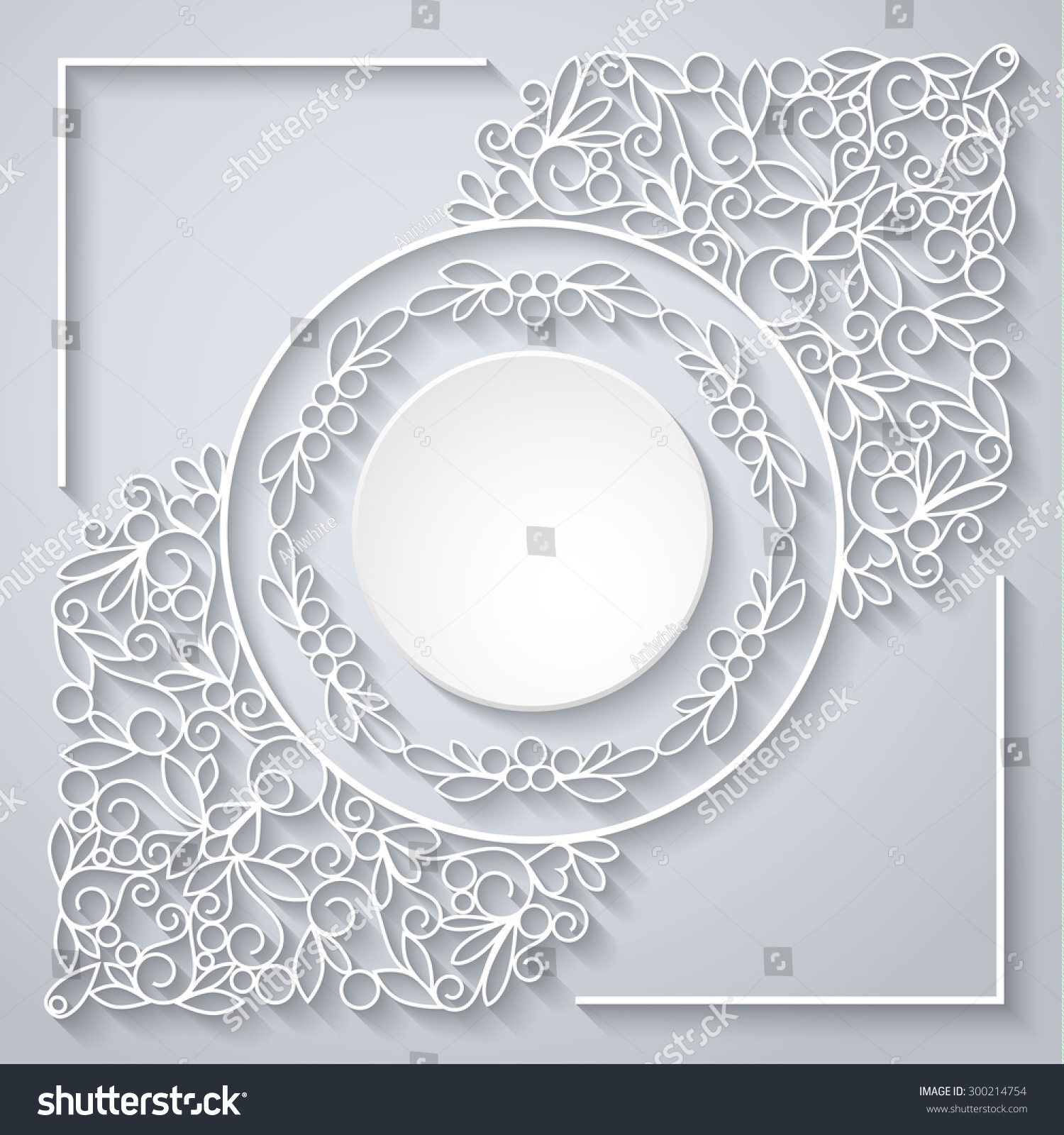 Swirly Paper Decor With Shadow On White Stock Photo