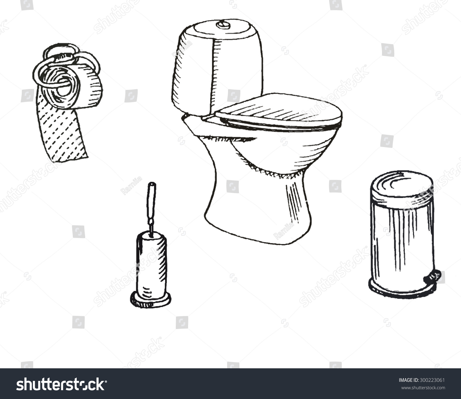 Hand Drawn Bathroom Set. Toilet Bowl And Toilet Paper, Bin