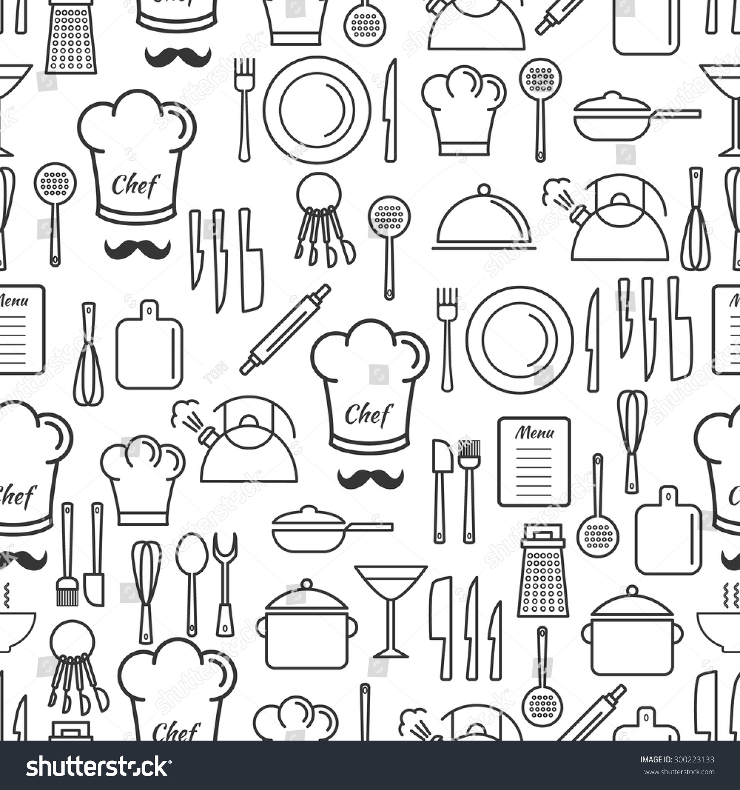 Cooking Utensil Line Icons Seamless Pattern Linear Stock Vector ...